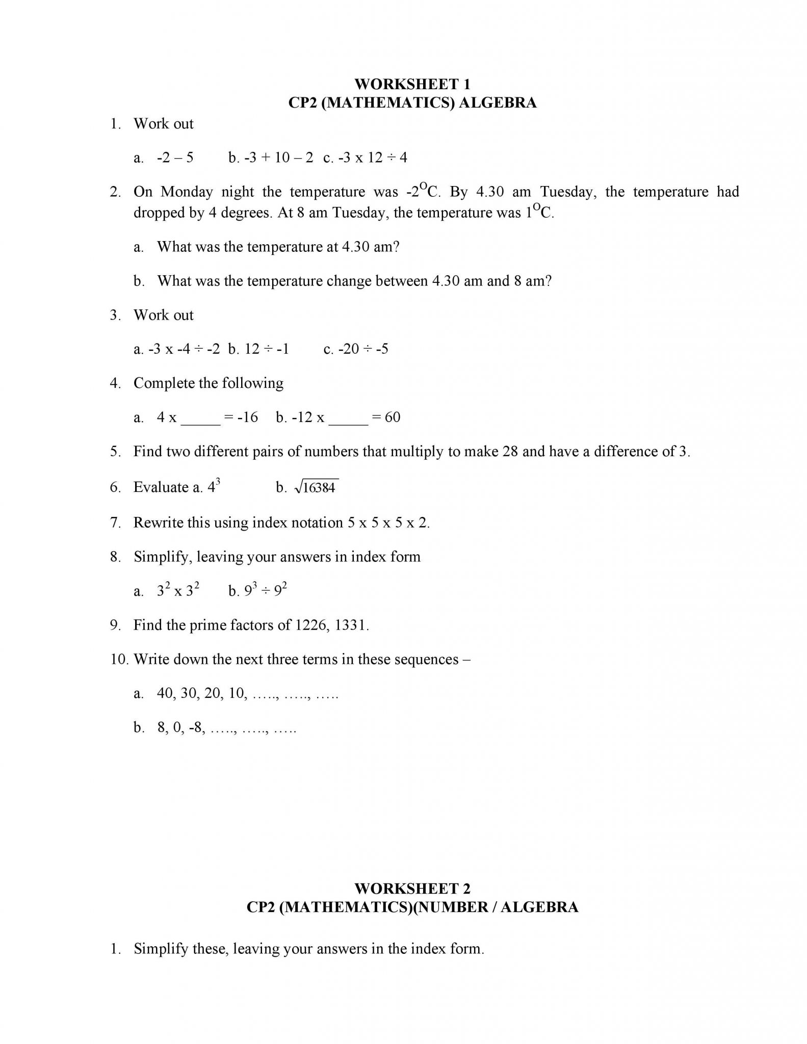 Arithmetic Sequences Worksheet 1 Answer Key