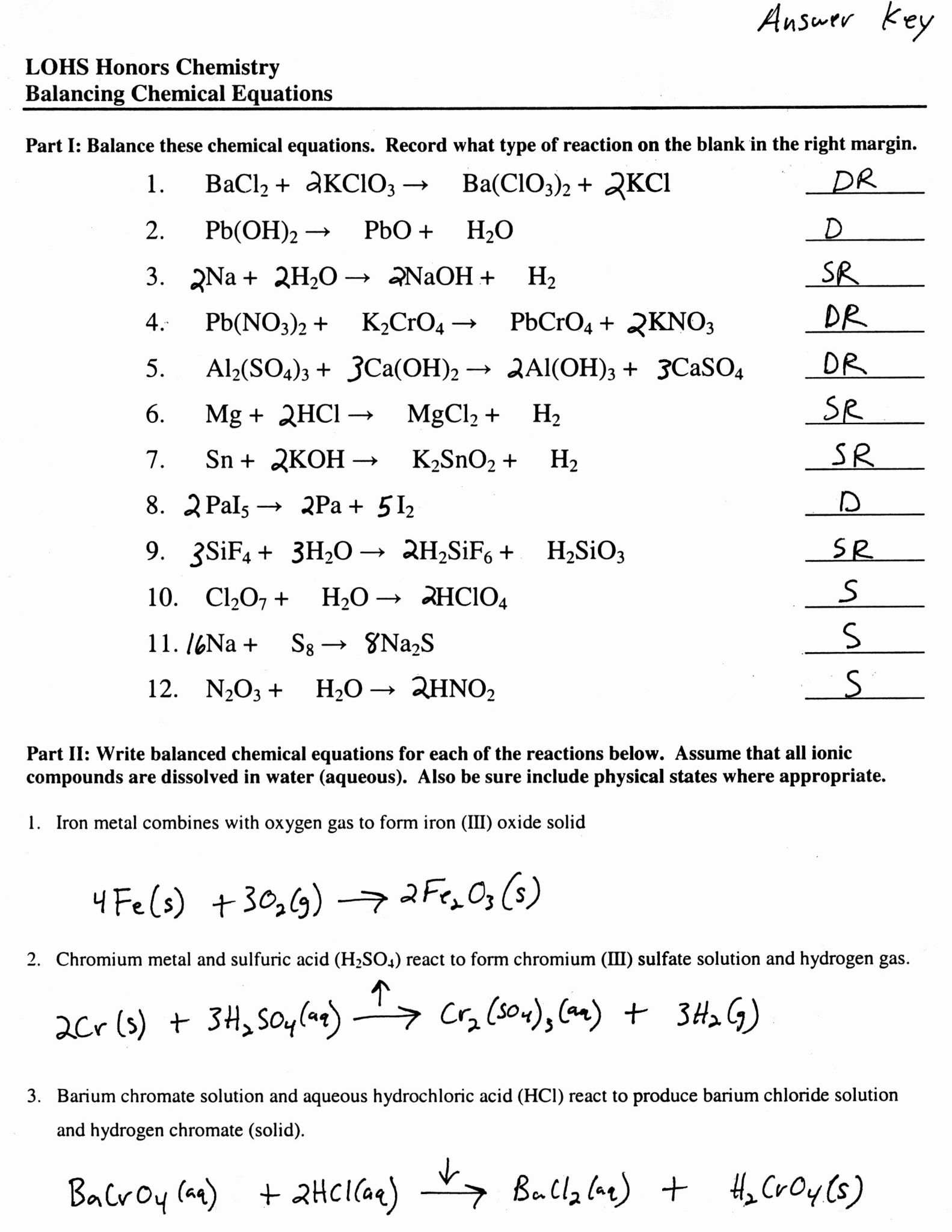 Balancing Chemical Equations Worksheet 1 Answer Key