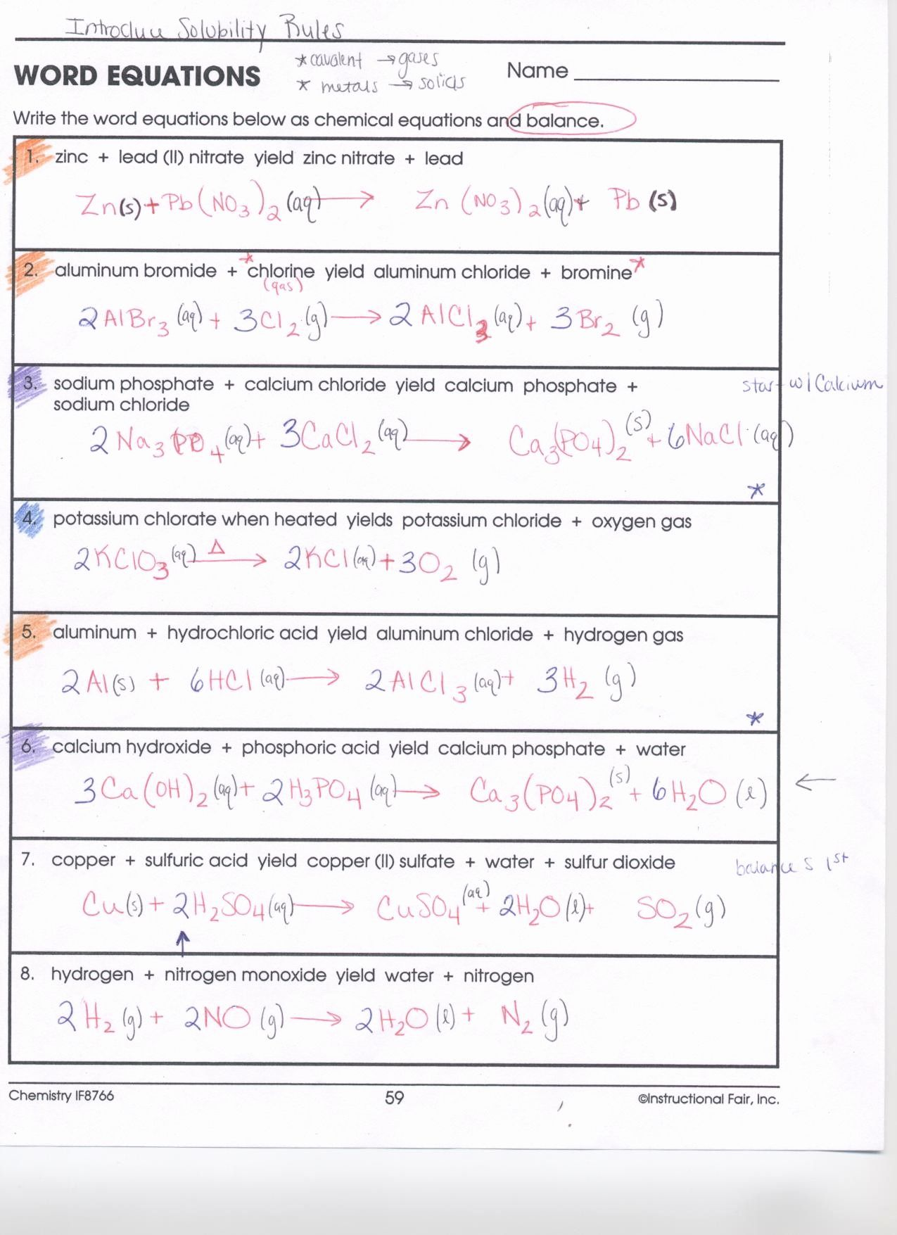 Balancing Chemical Equations Names Given Worksheet Answers