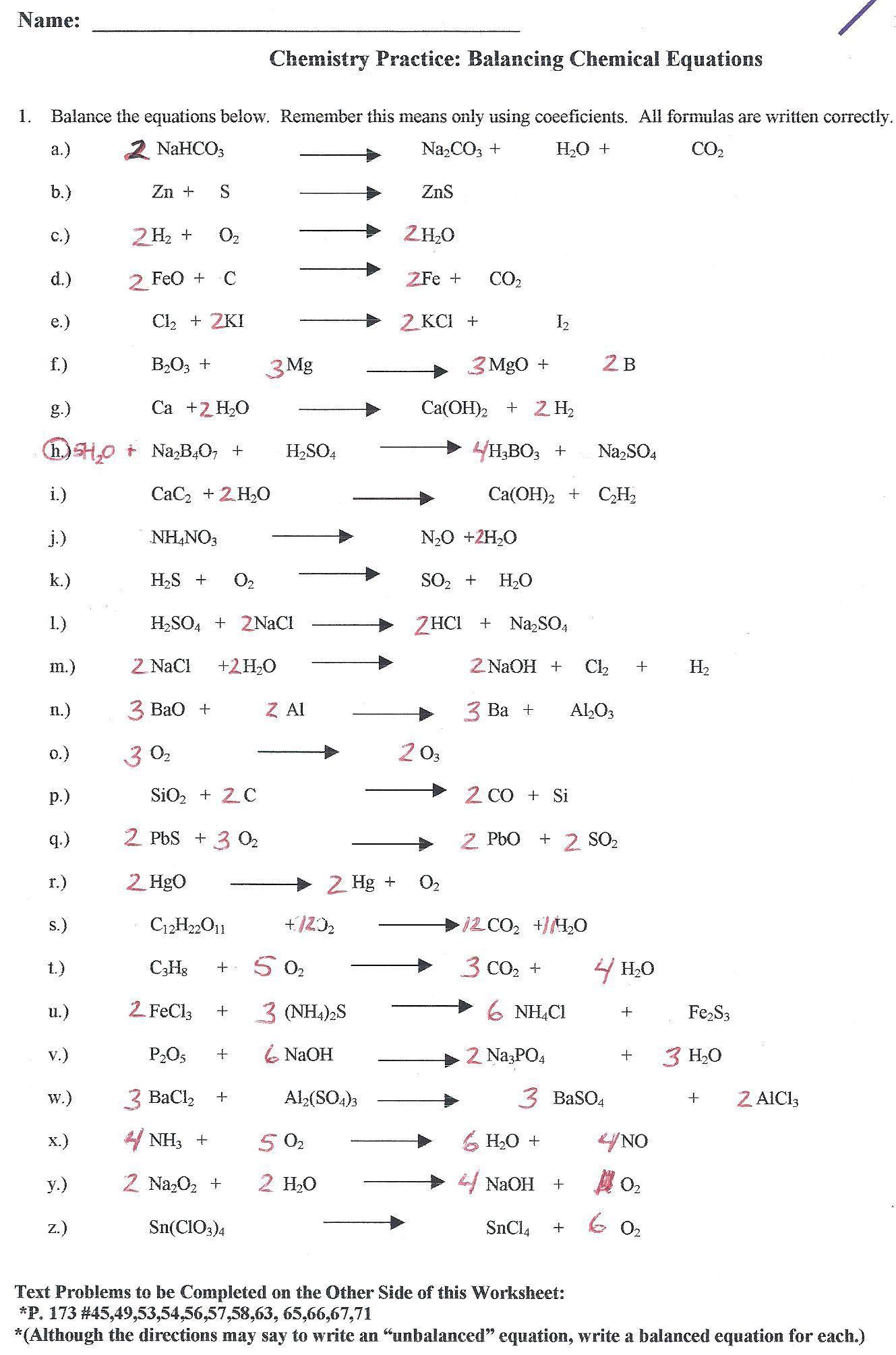 Balancing Nuclear Equations Worksheet