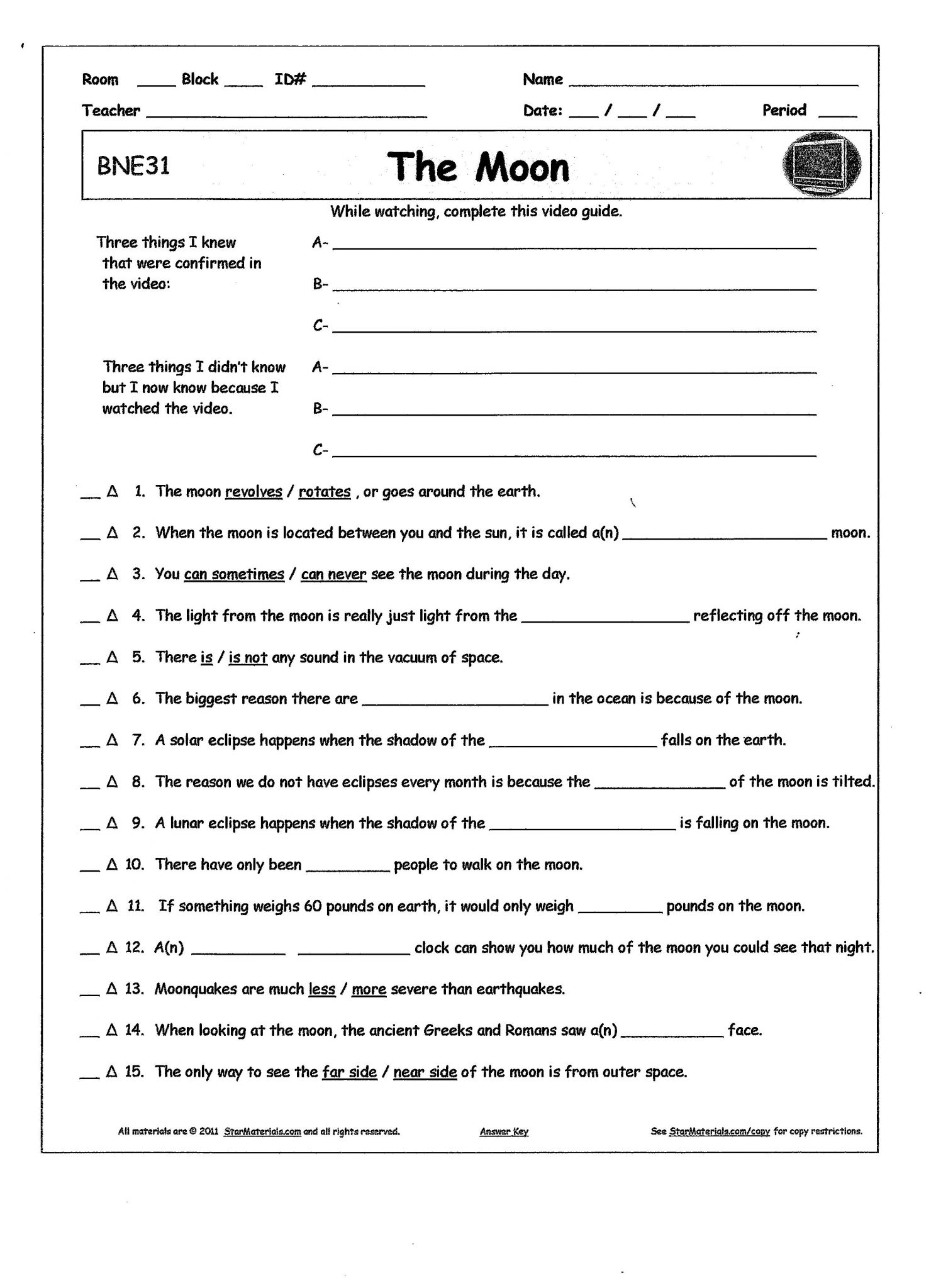 Bill Nye Scientific Method Worksheet
