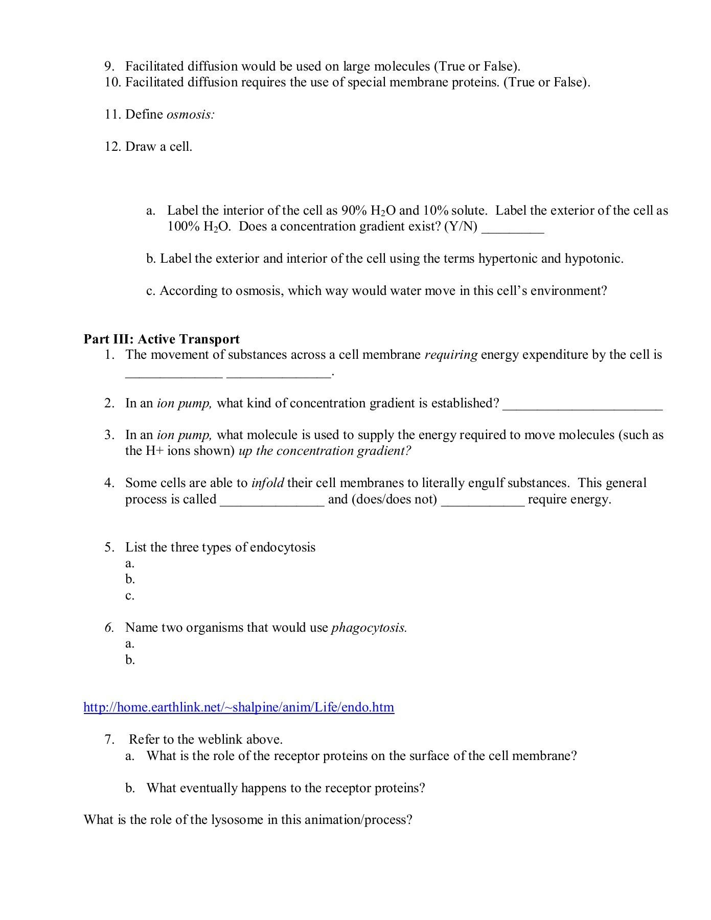 Cell Transport Webquest Worksheet Answers