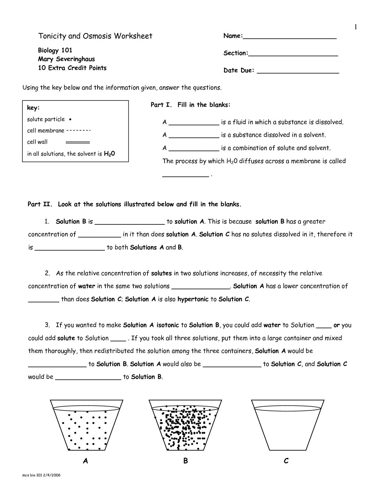 Cellular Transport Worksheet Section A Cell Membrane