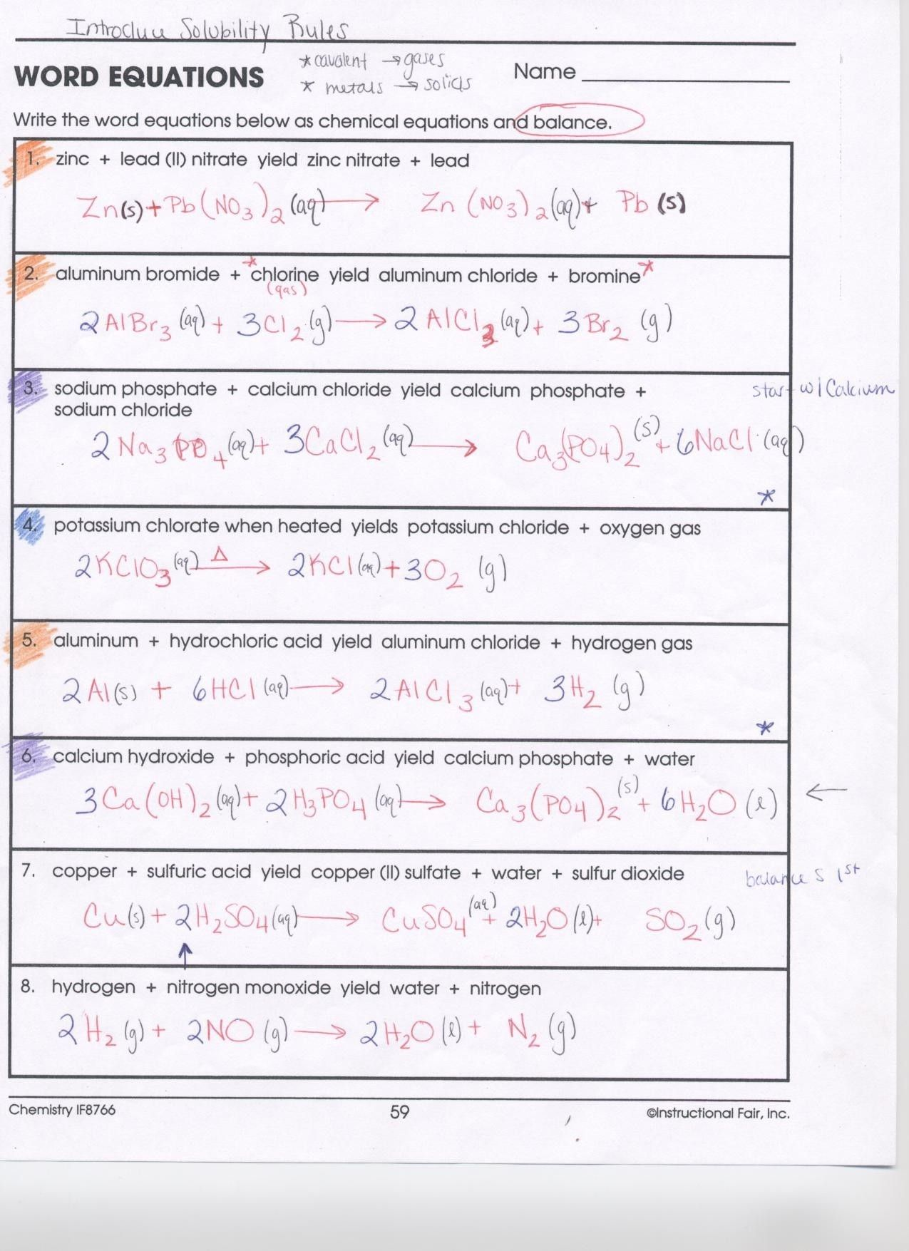 Chemistry Balancing Chemical Equations Worksheet Answer
