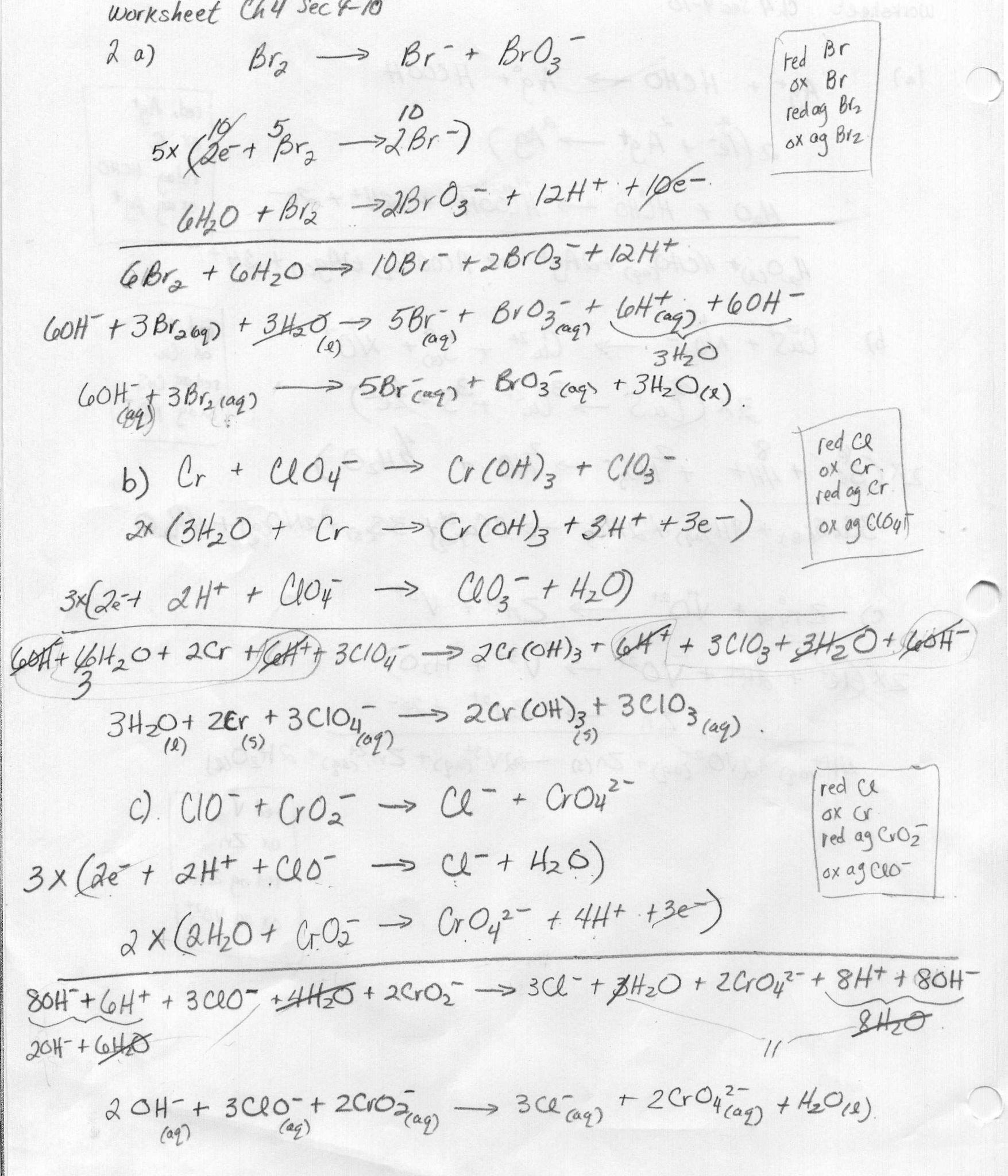 Chemistry Unit 4 Worksheet 2