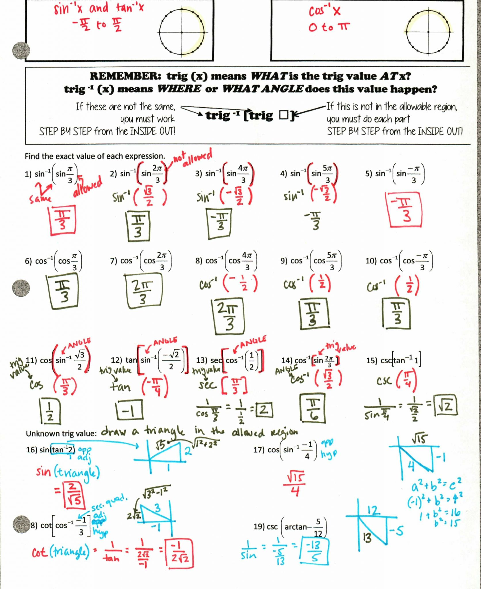 Circle Formulas Worksheet