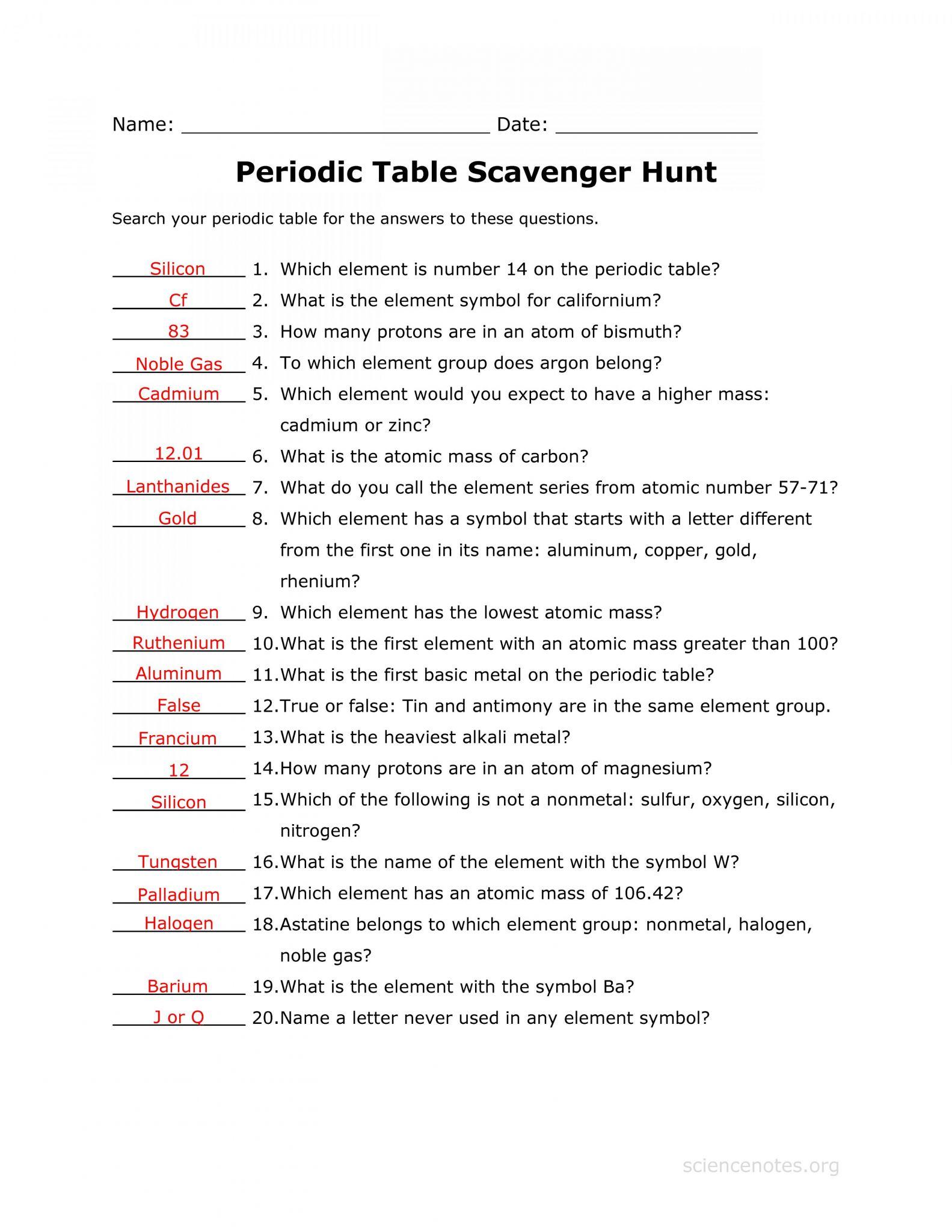 Chemistry Worksheet Matter 1 Answers