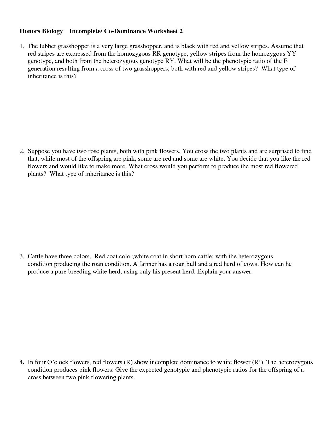 Codominance Incomplete Dominance Worksheet Answers
