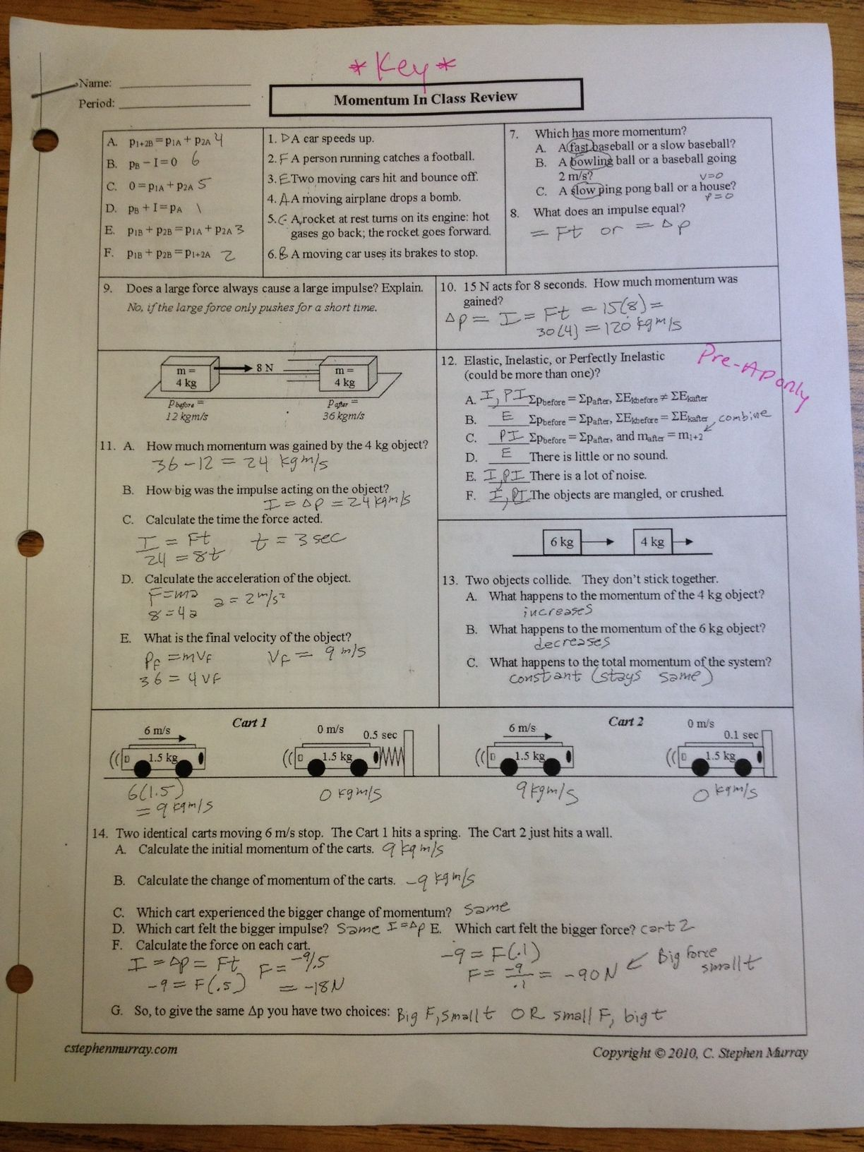 Collisions Momentum Worksheet 4 Answers