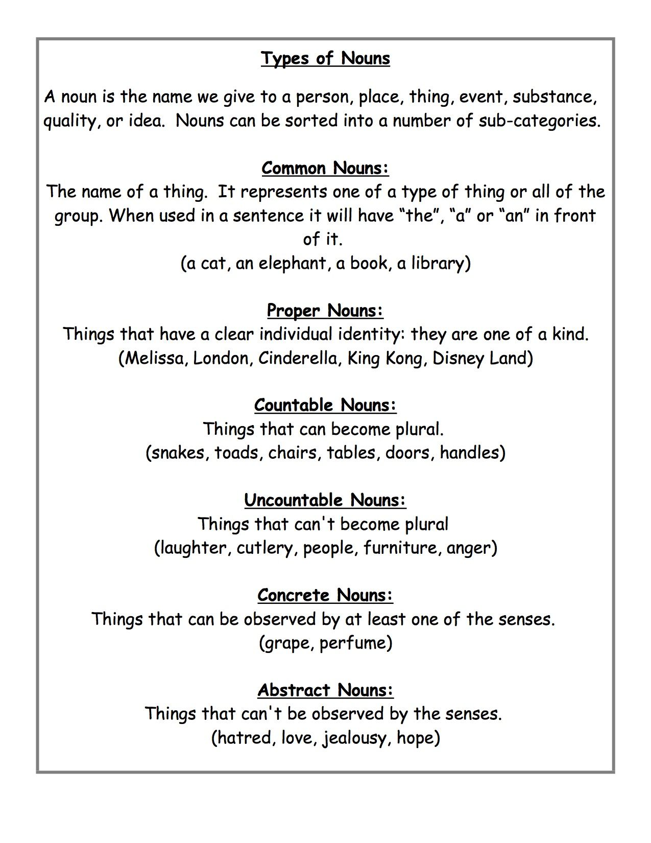 Common And Proper Nouns Worksheets For Grade 5