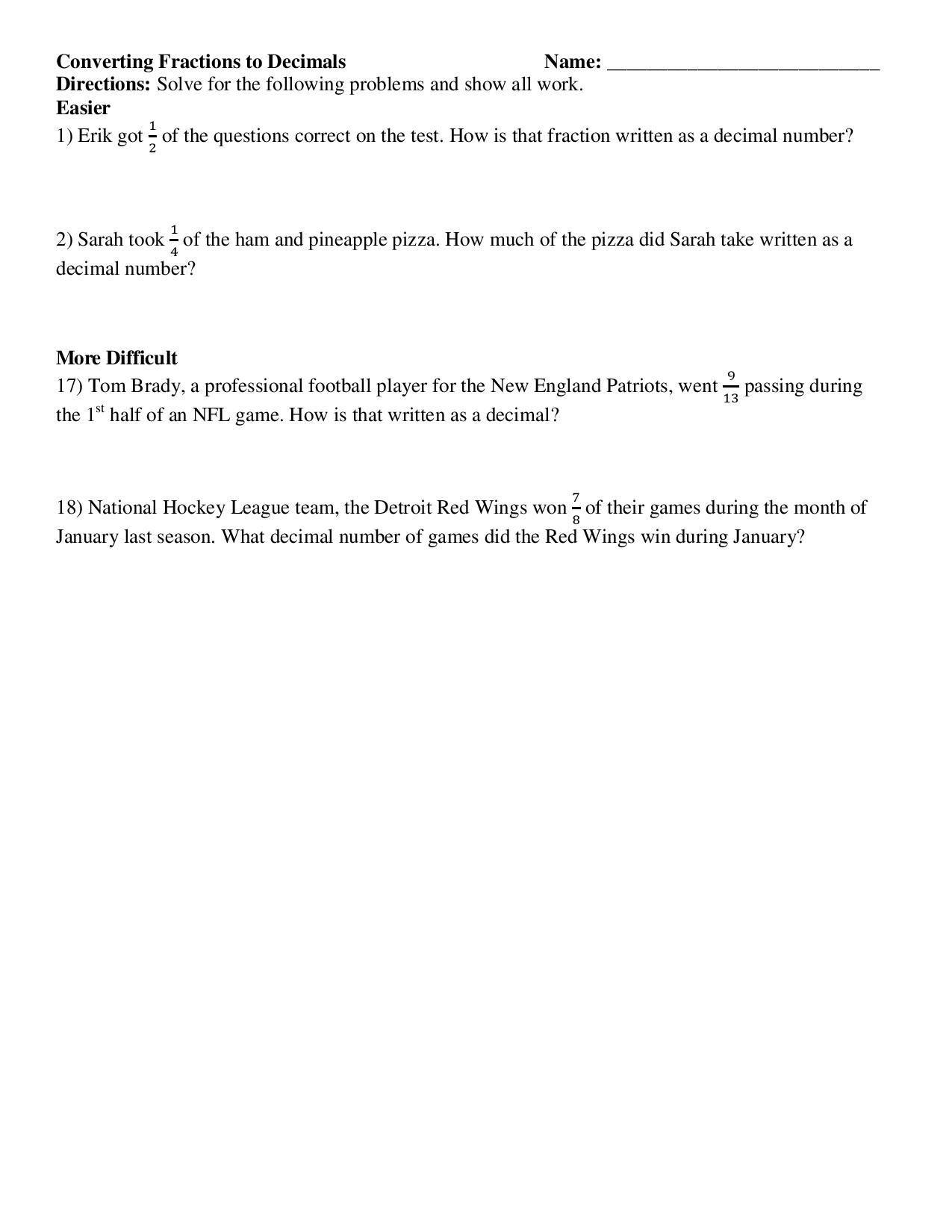 Common Core Math Worksheets 5th Grade Decimals