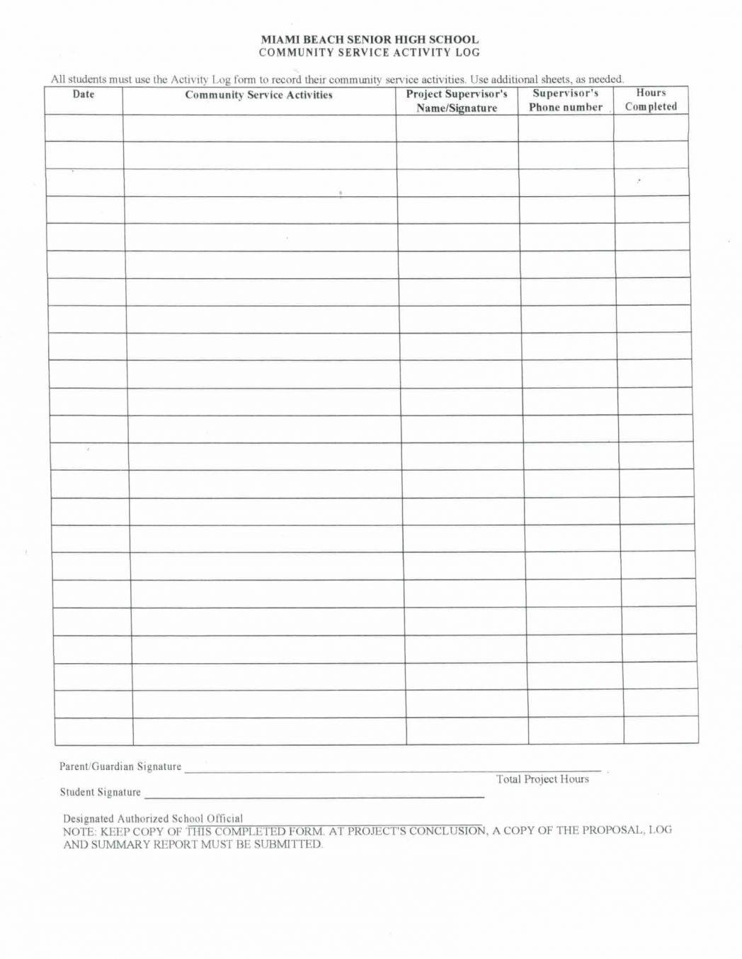 Community Service Worksheet