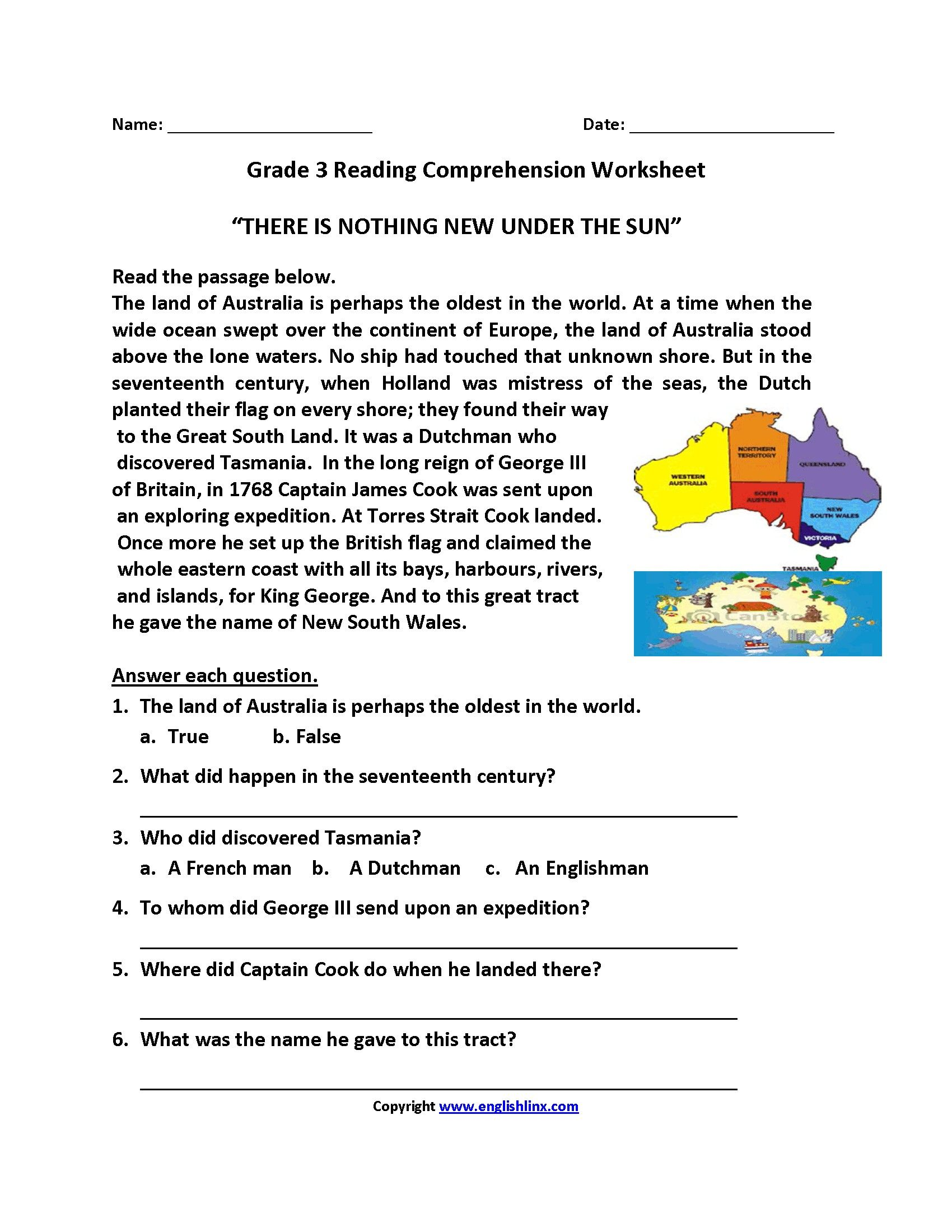 Printable Third Grade Reading Prehension Worksheet
