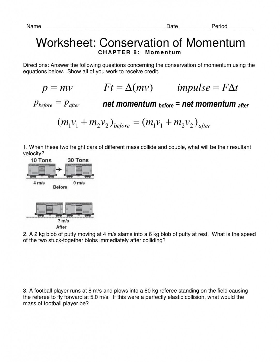 Momentum Problems Worksheet