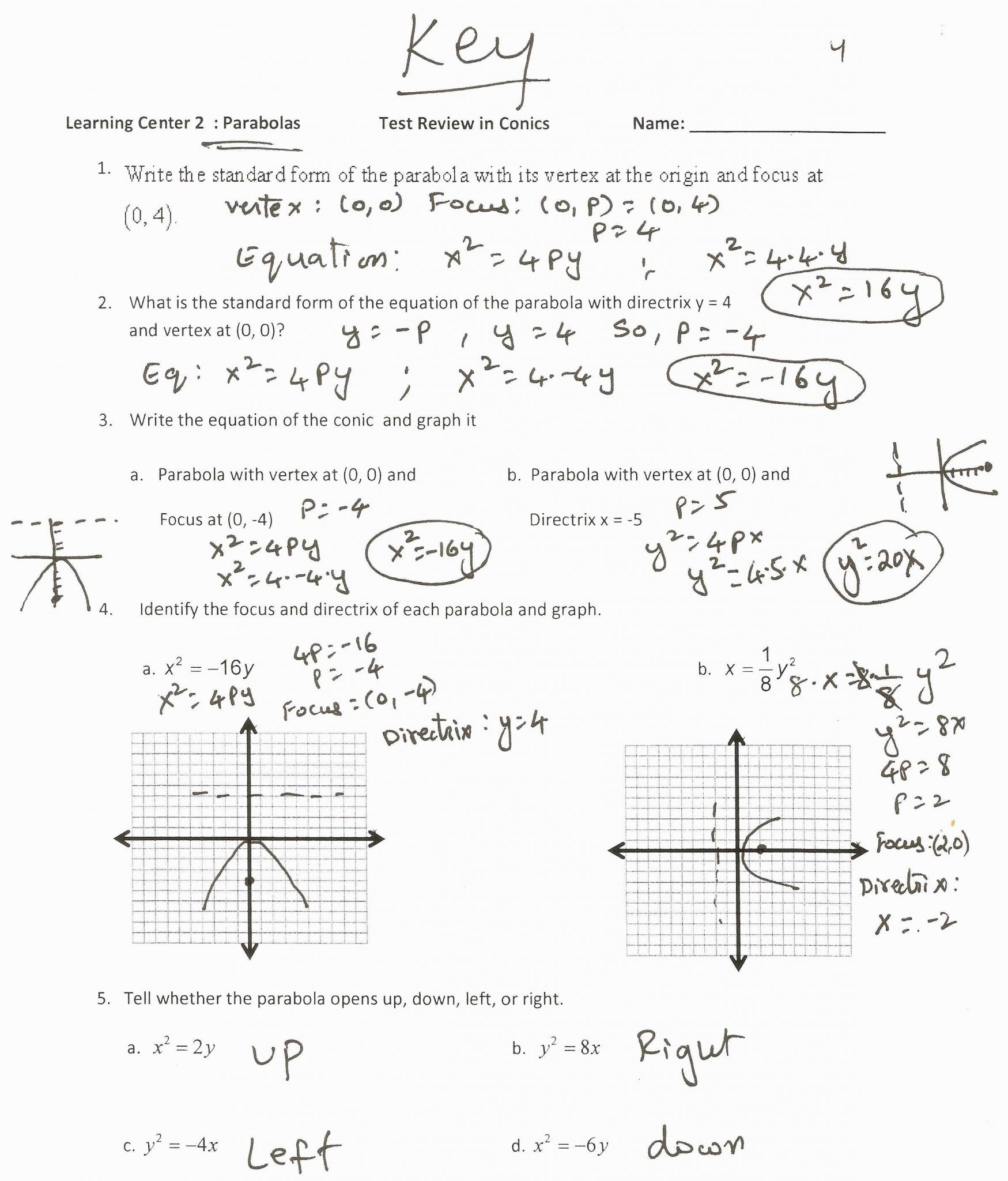 Converting Quadratic Equations Worksheet Standard To
