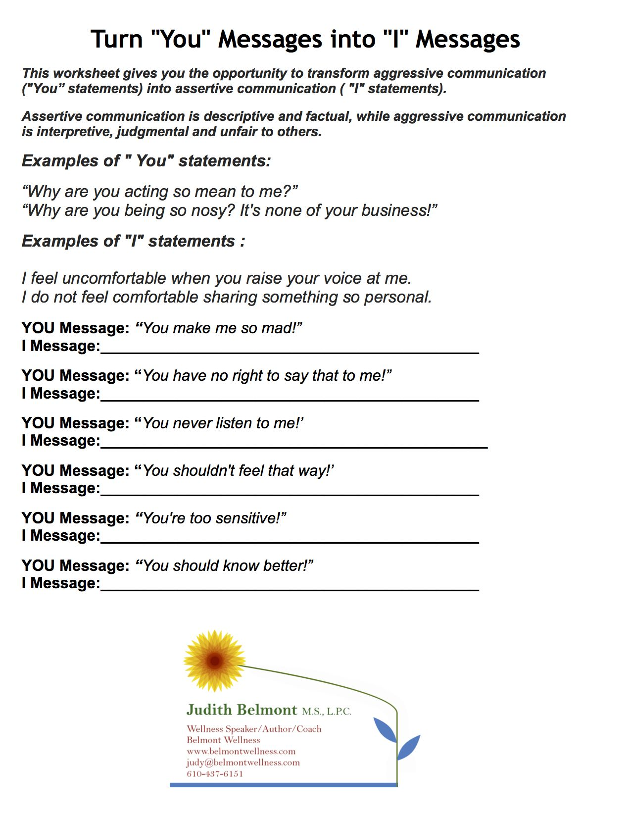 Denial In Addiction Worksheets