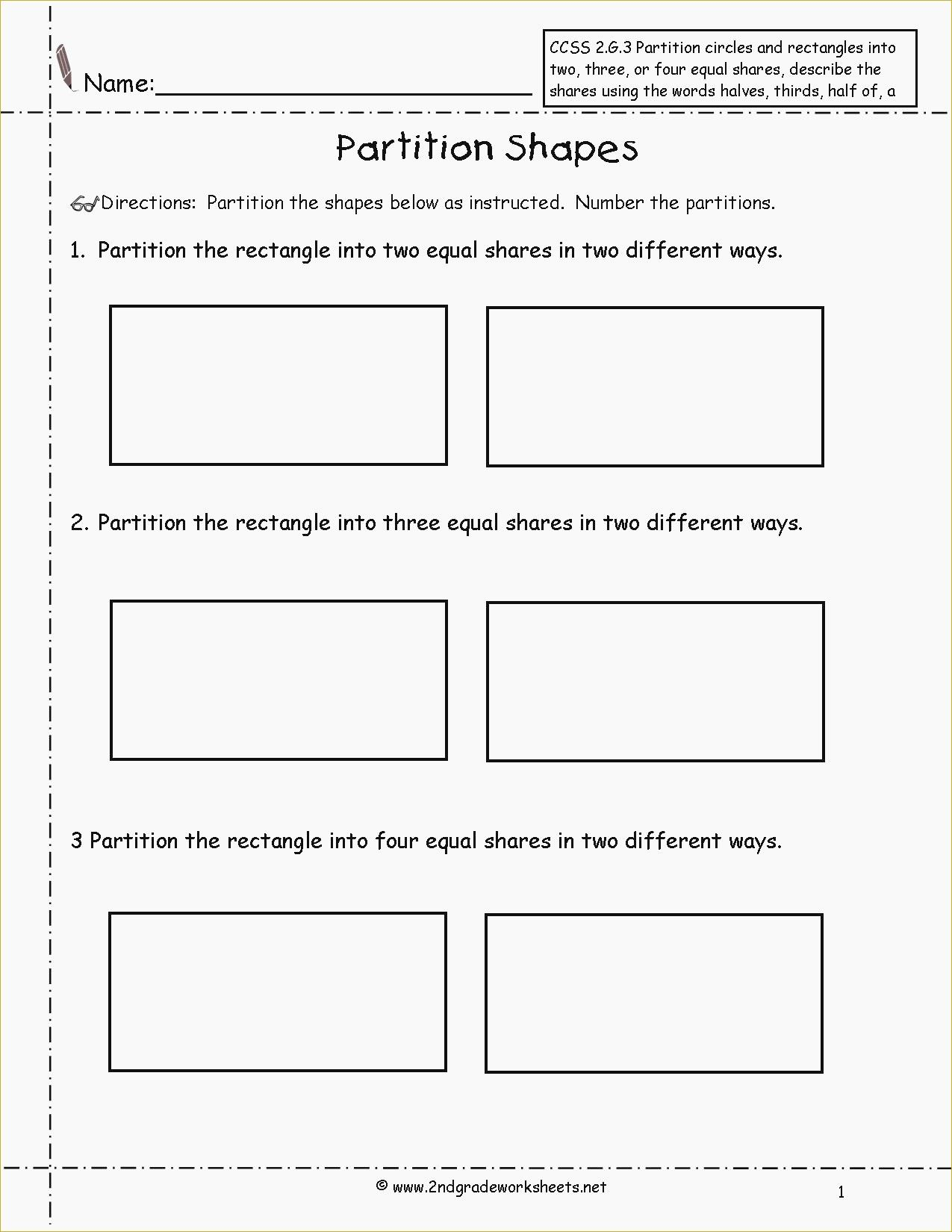 Dividing Shapes Into Equal Parts Worksheet