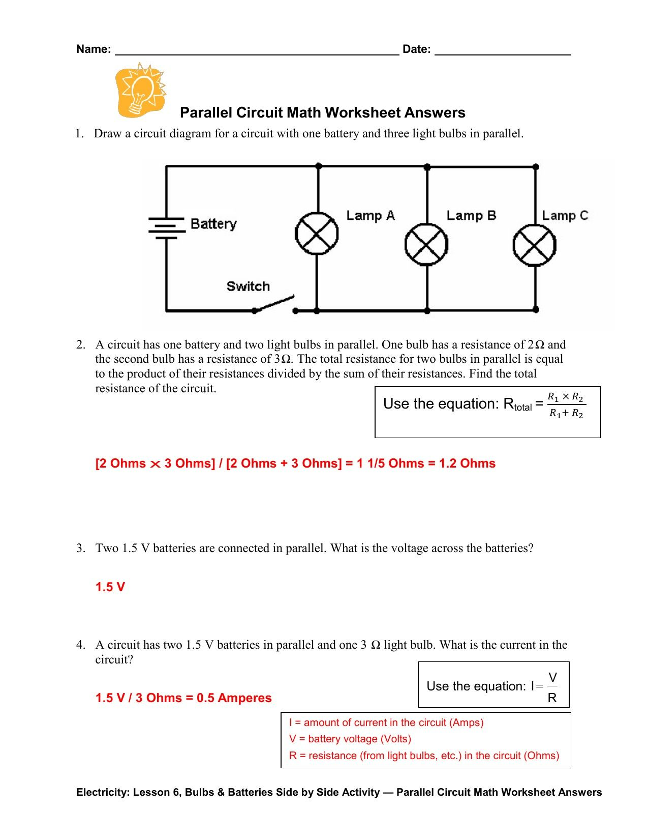 Electric Circuits Worksheets With Answers