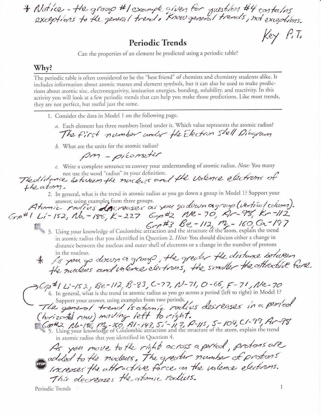 Element Scavenger Hunt Worksheet Answer Key