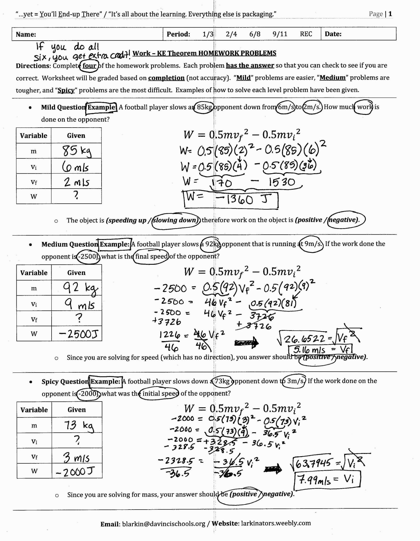 Energy Calculations Worksheet