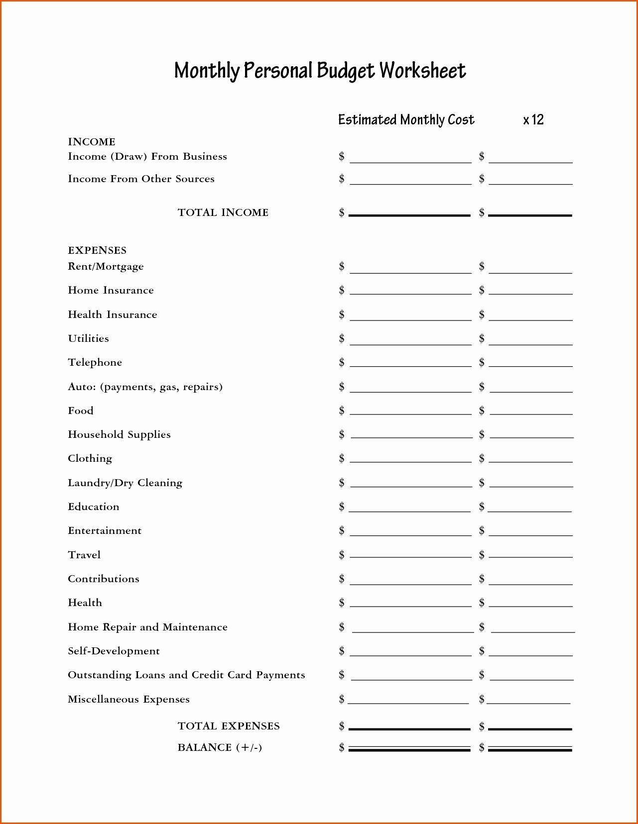Financial Peace University Worksheets