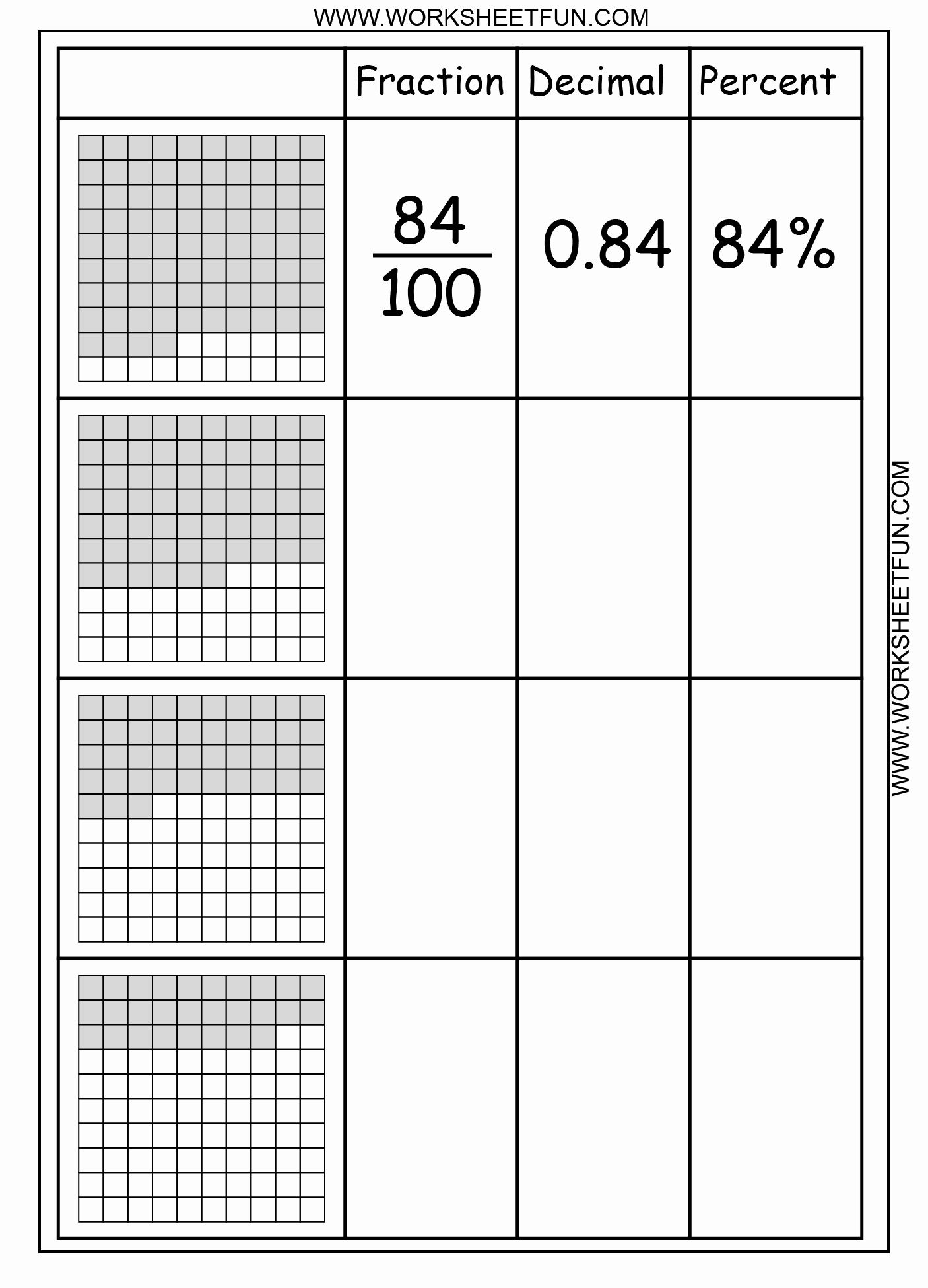 Fraction Decimal Percent Worksheet