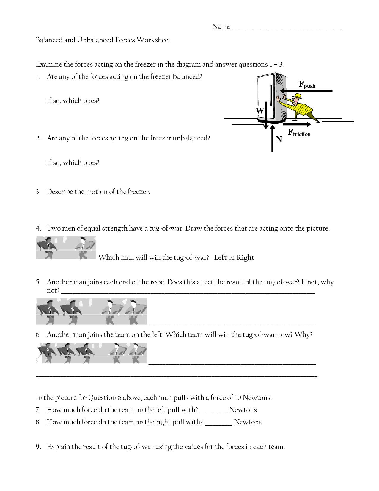 Friction Worksheet Answers