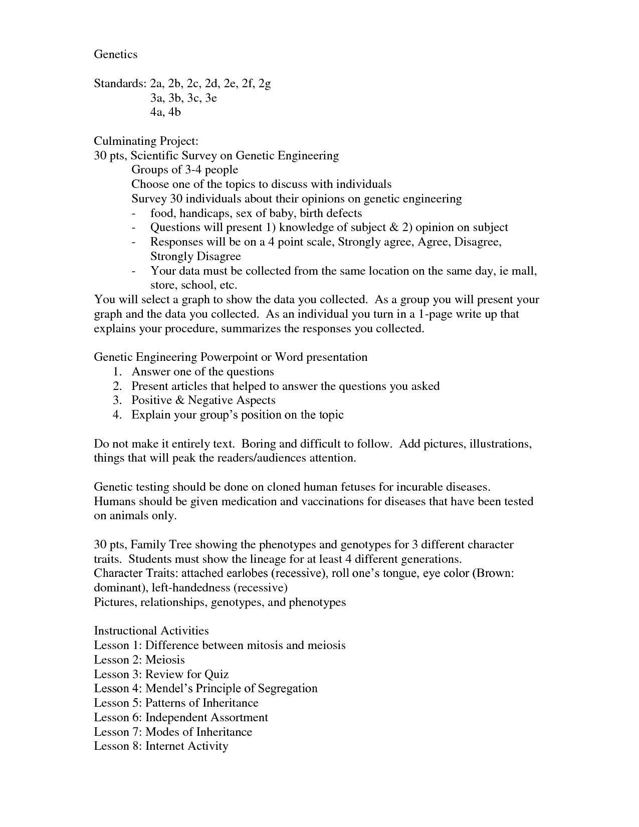Genetics Problems Worksheet 1 Answer Key
