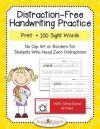 Distraction Free Print Handwriting Practice 100 Sight Words with Arrows
