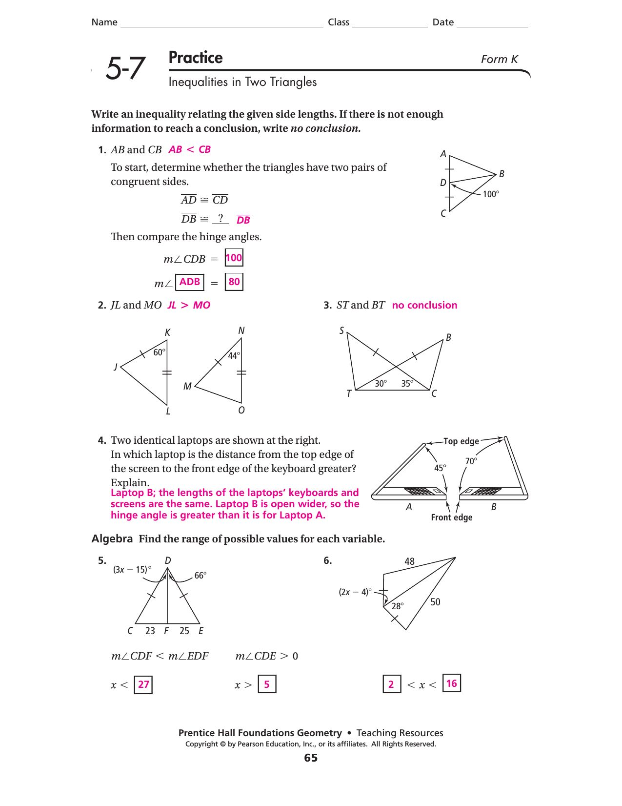 Geometry Introduction Worksheet