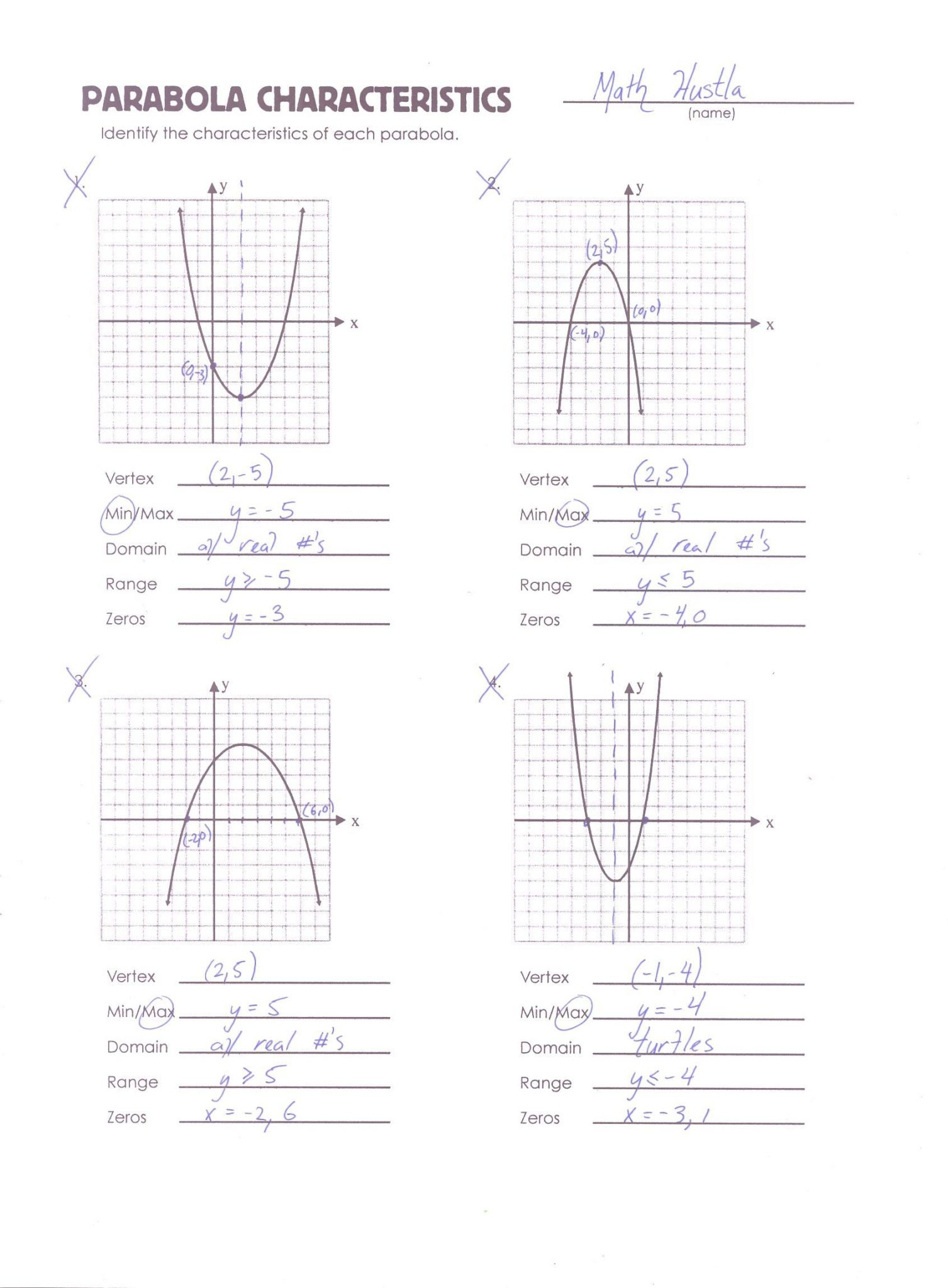 Graphing Parabolas Worksheet Algebra 1