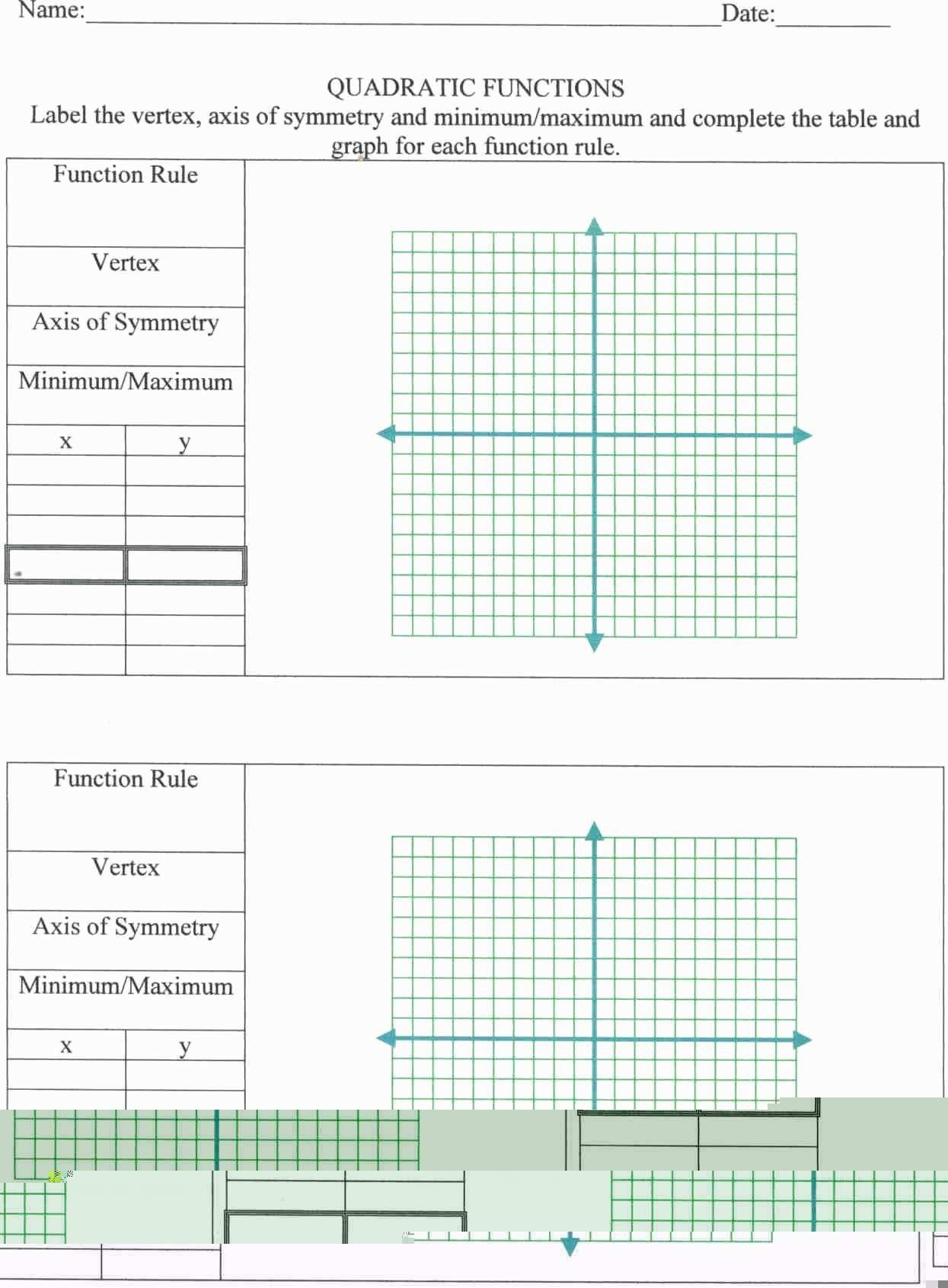Quadratic Functions Standard Form Worksheet Answers