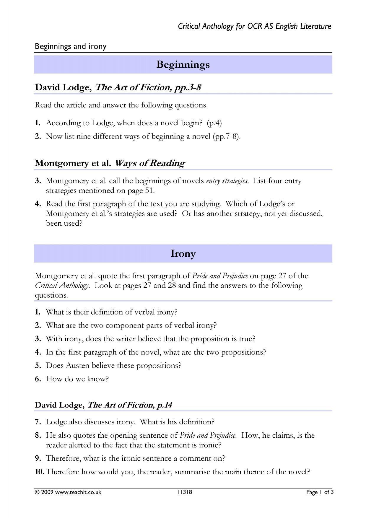 Identifying Irony Worksheet Answers