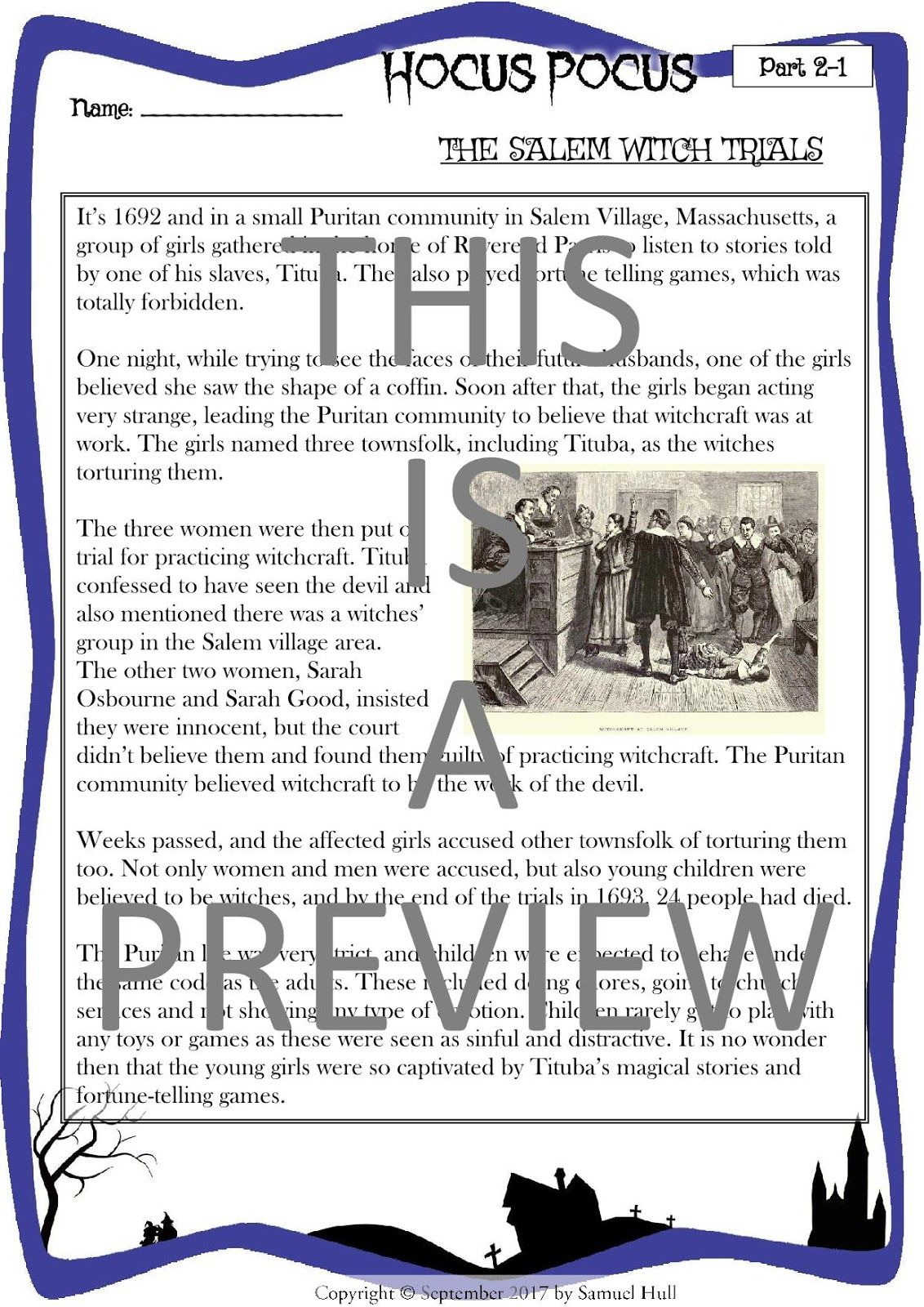 In Search Of History Salem Witch Trials Worksheet Answers