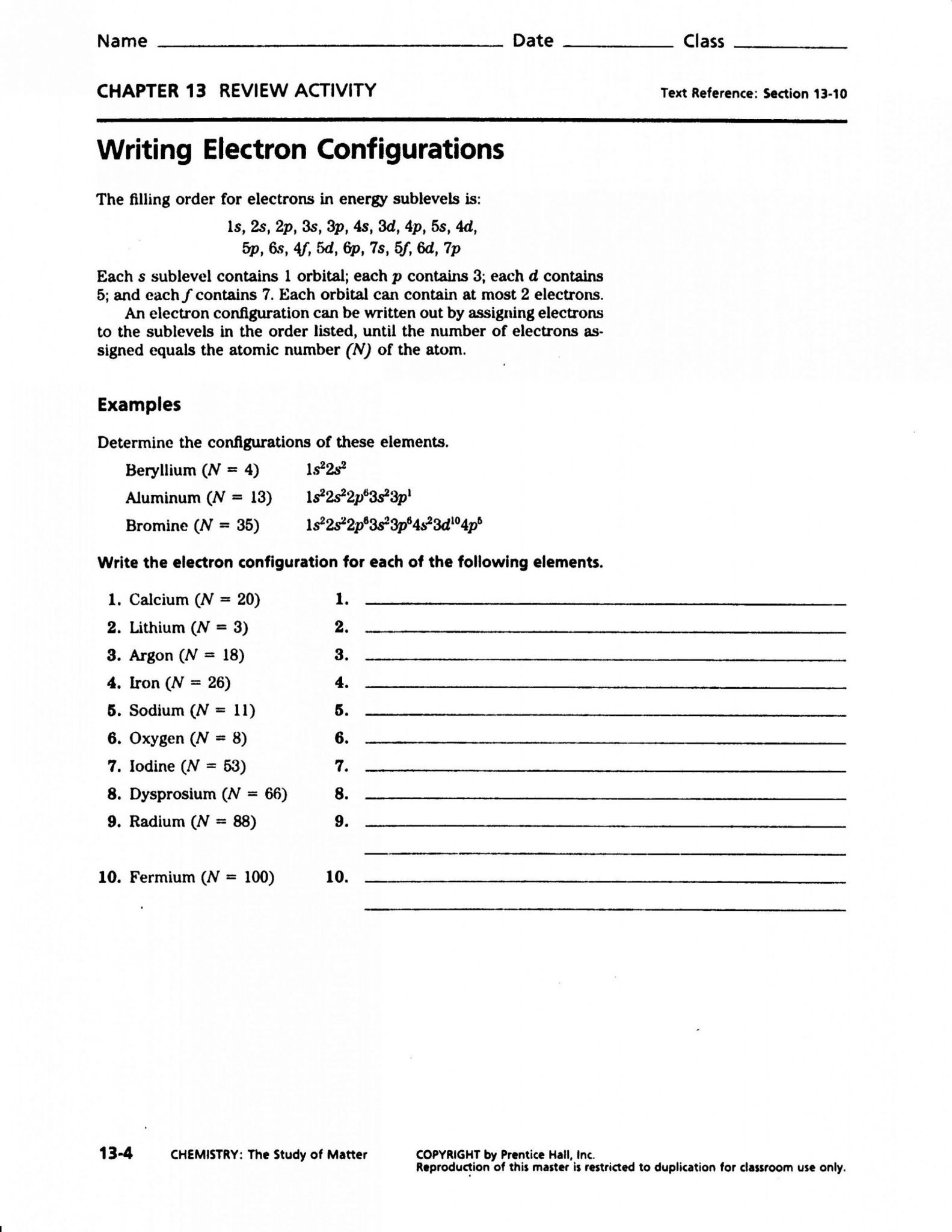Electron Configuration Summary Worksheet