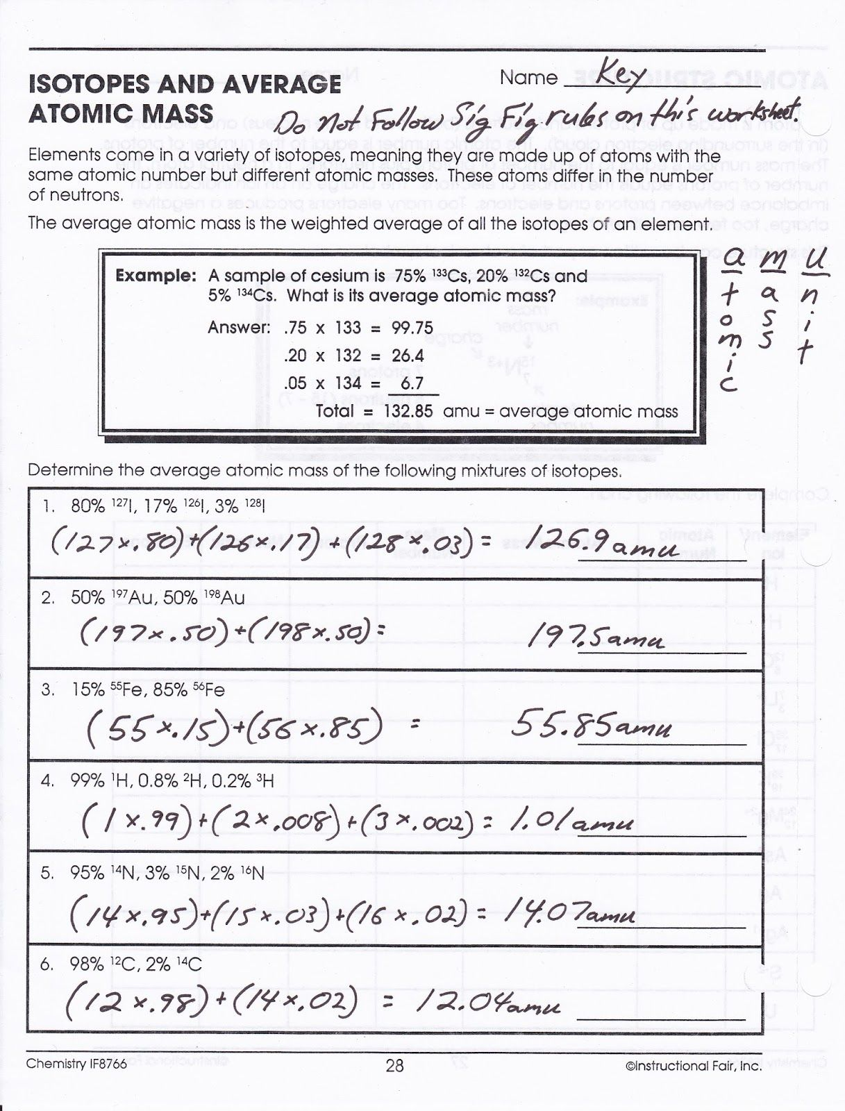 Isotopes Ions And Atoms Worksheet Answer Key