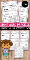 Sight Word Practice for preschool kindergarten first Grade Sight Word Worksheets and Activities It includes FREE Dolch sight word practice worksheets