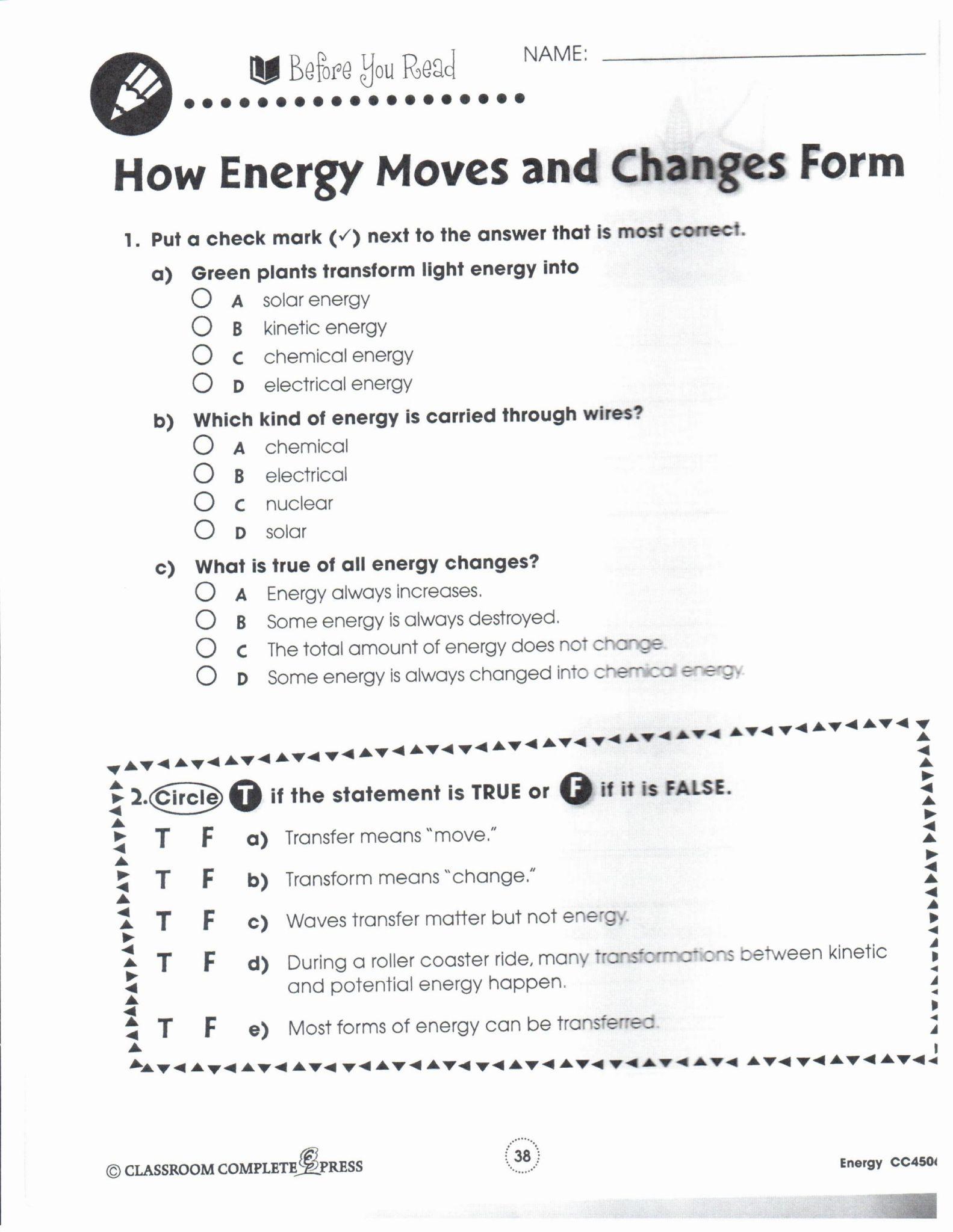 Kinetic And Potential Energy Worksheet Key