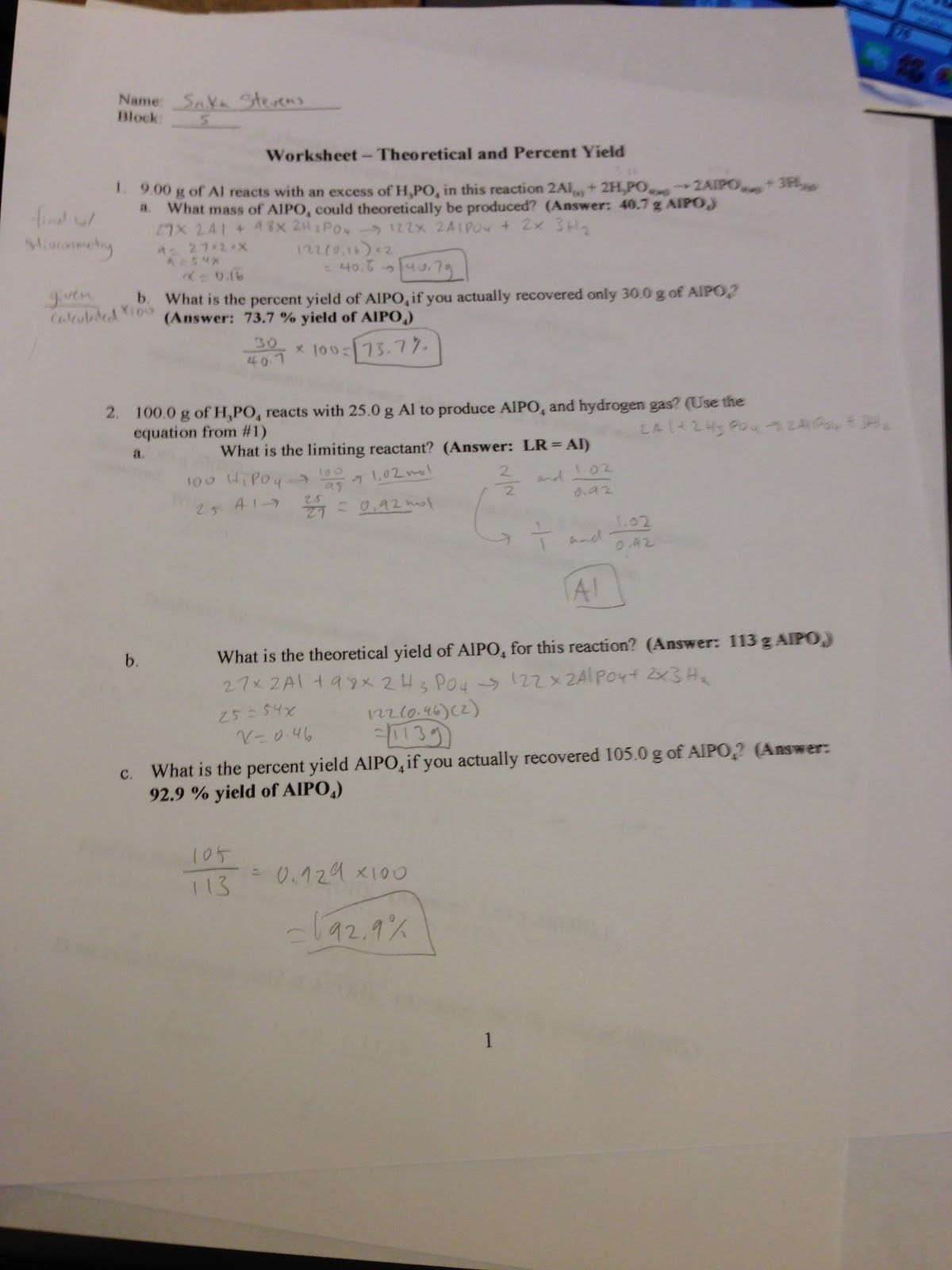 Limiting And Excess Reactants Worksheet