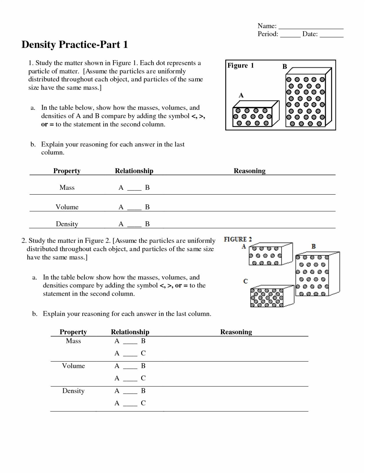 Chemistry Unit 1 Worksheet 3 Mass Volume And Density