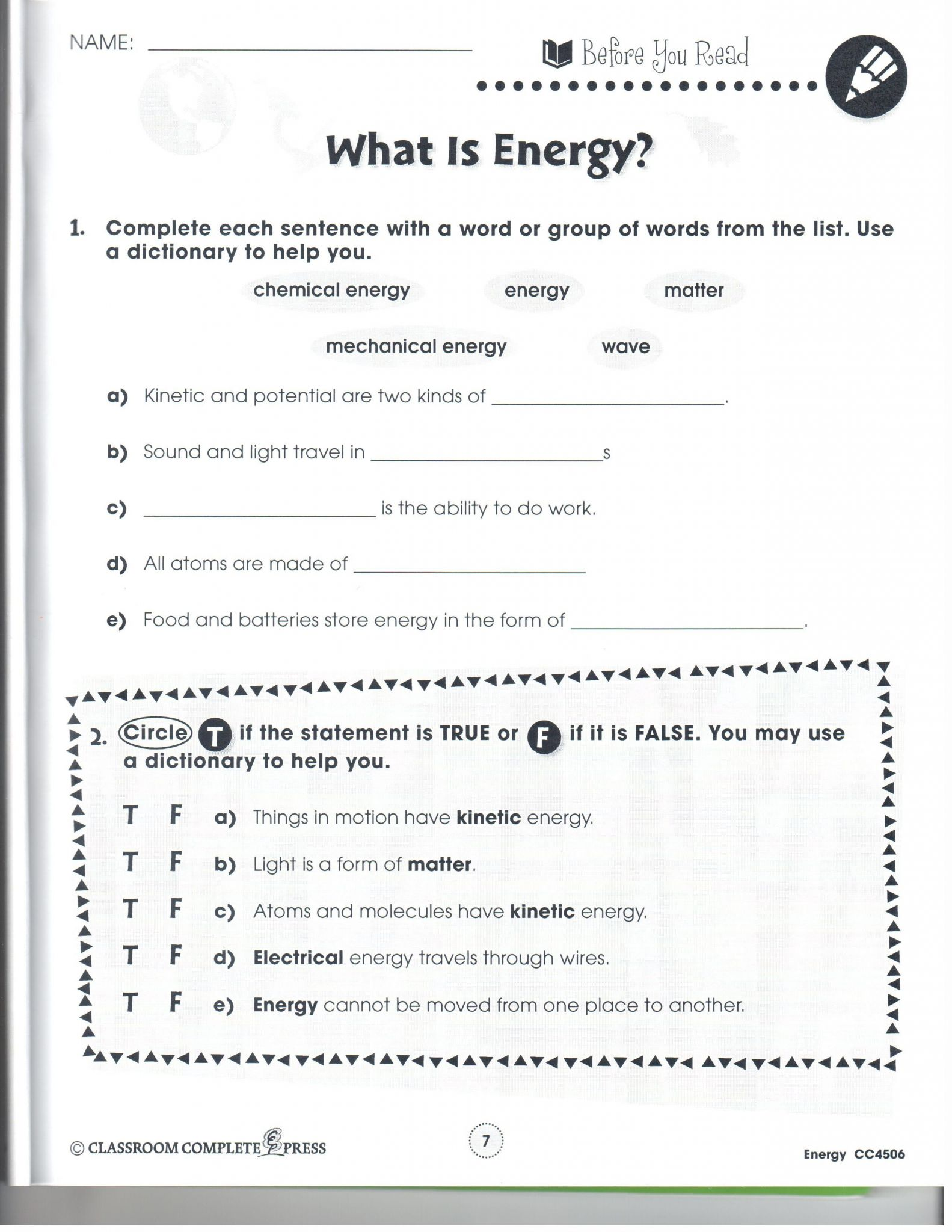 Matter And Energy Worksheet Answers