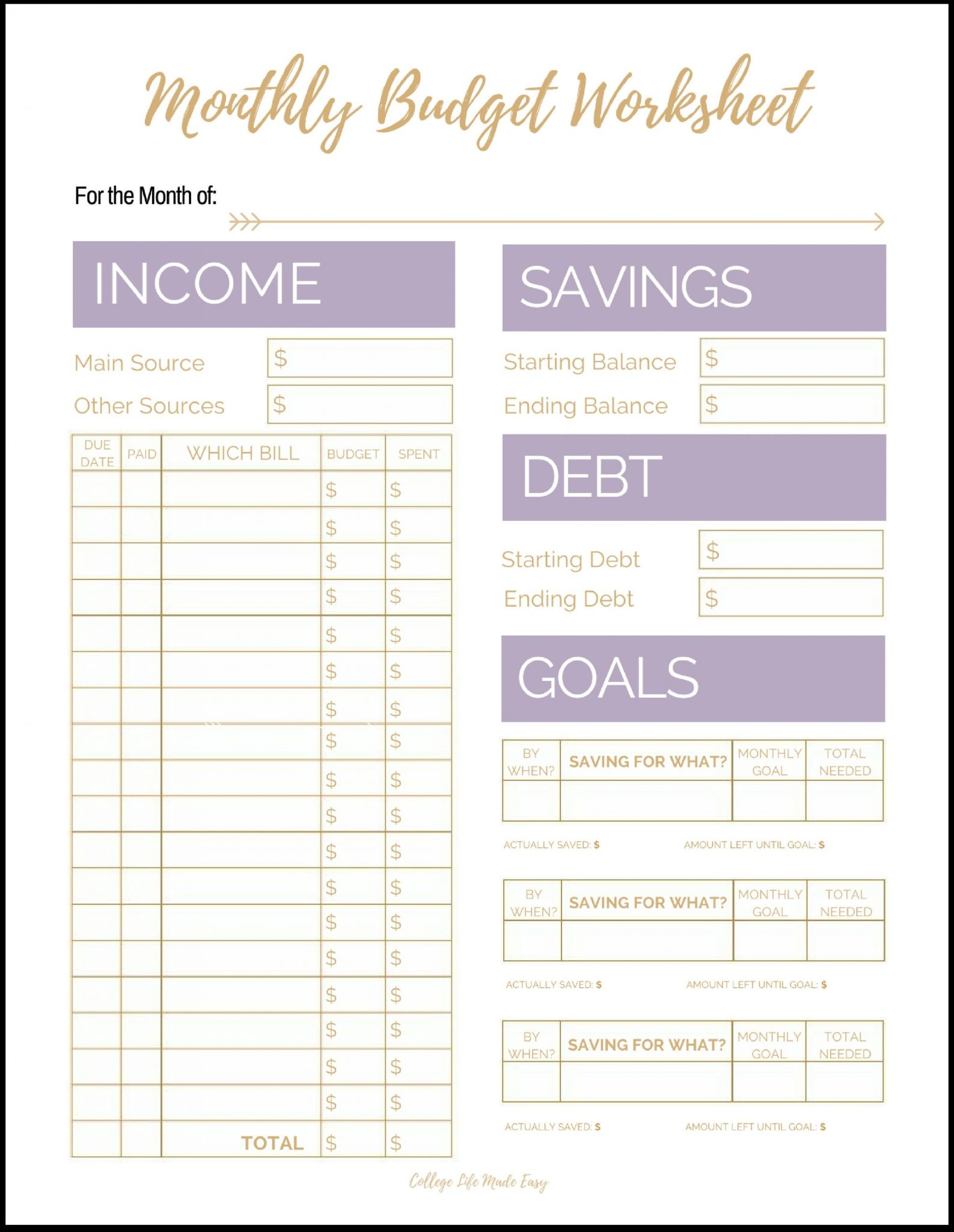 Monthly Budget Worksheet Printable
