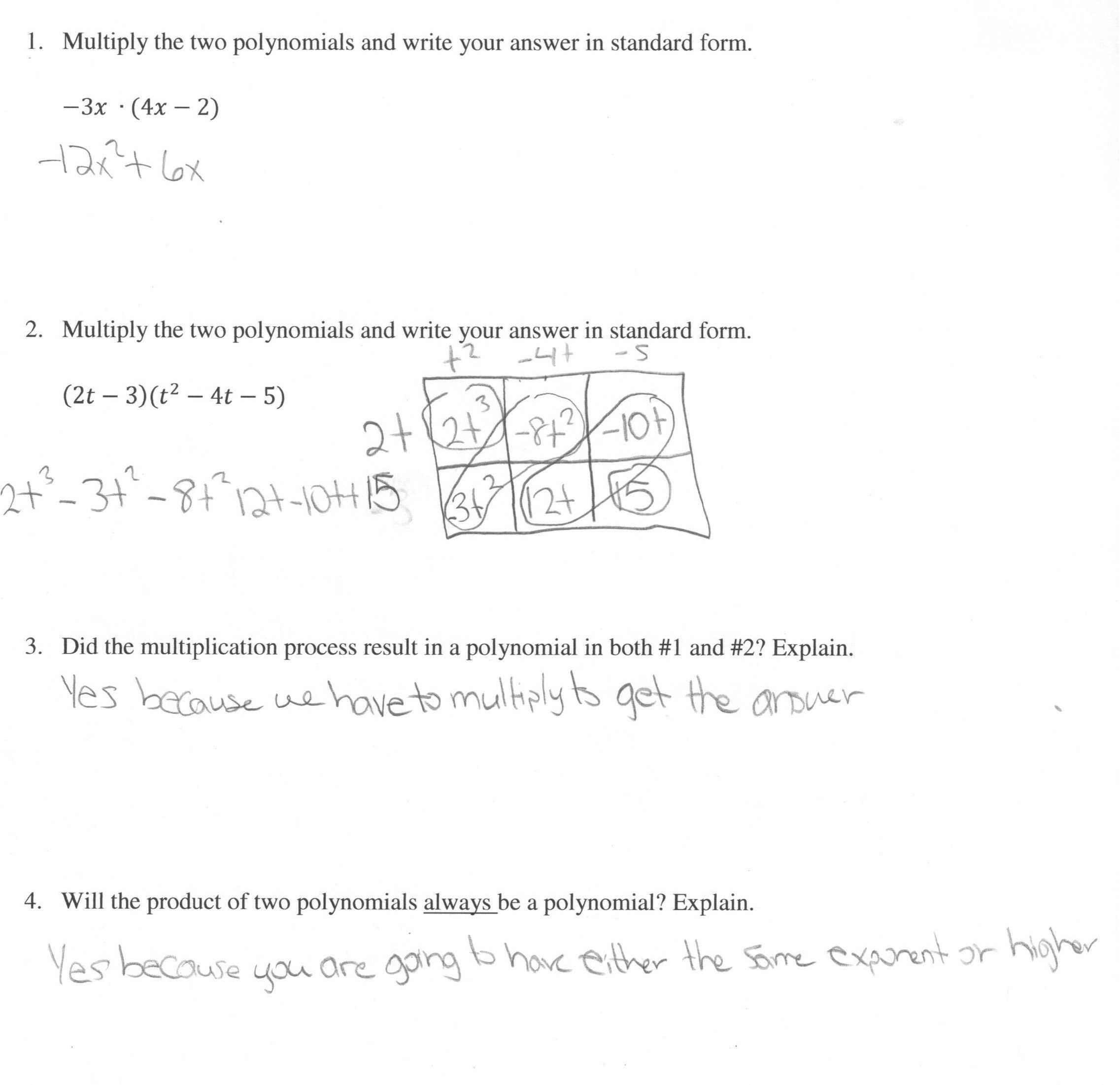 Multiplying Polynomials Worksheet 1 Answers