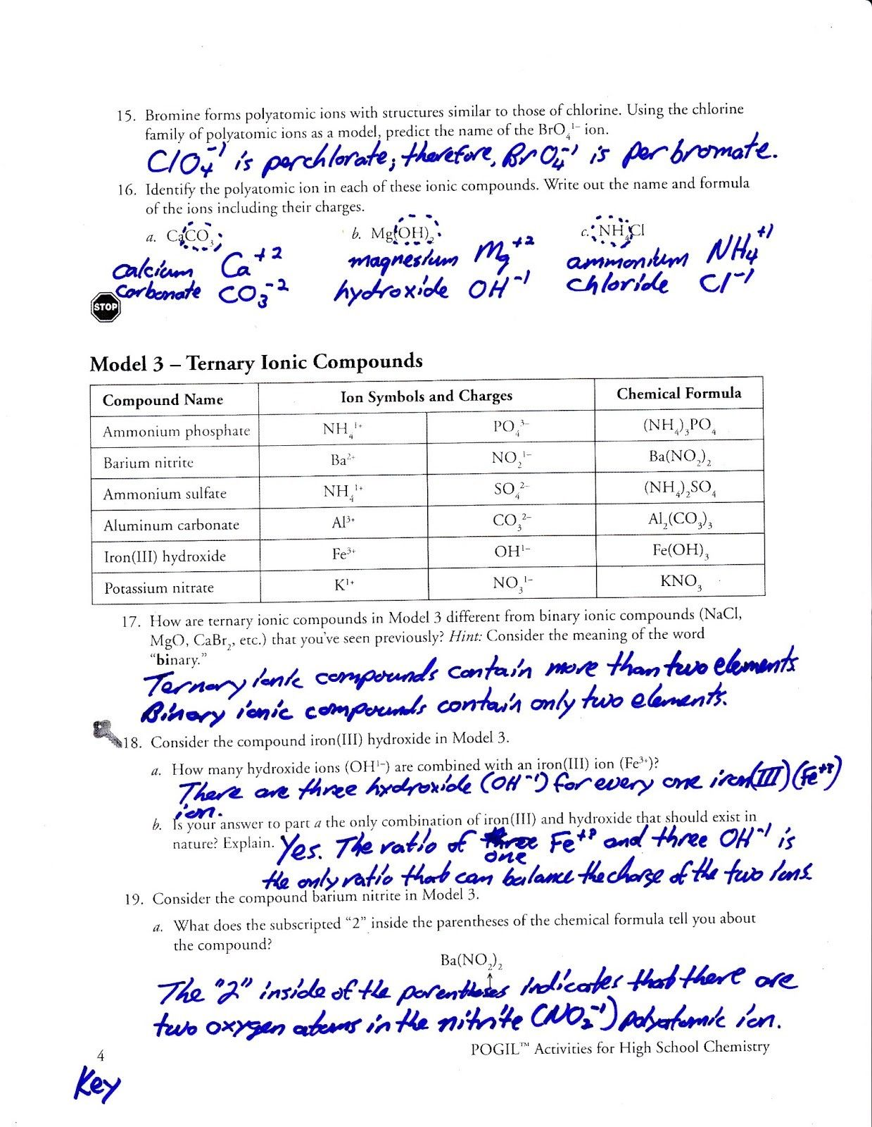Naming Ionic And Covalent Compounds Worksheet Answer Key
