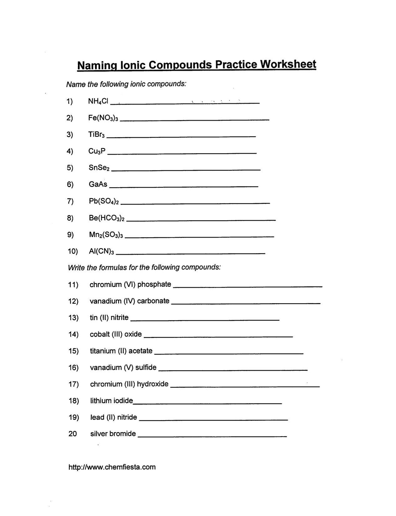 Naming Polyatomic Ions Worksheet