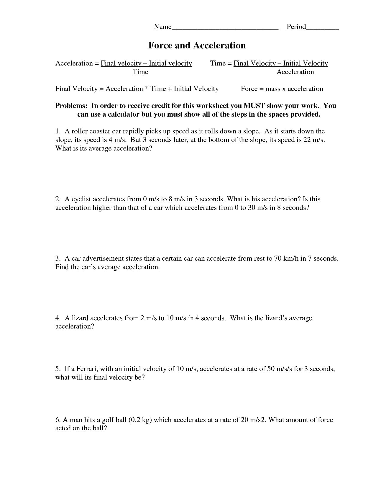 Force Mass And Acceleration Worksheet