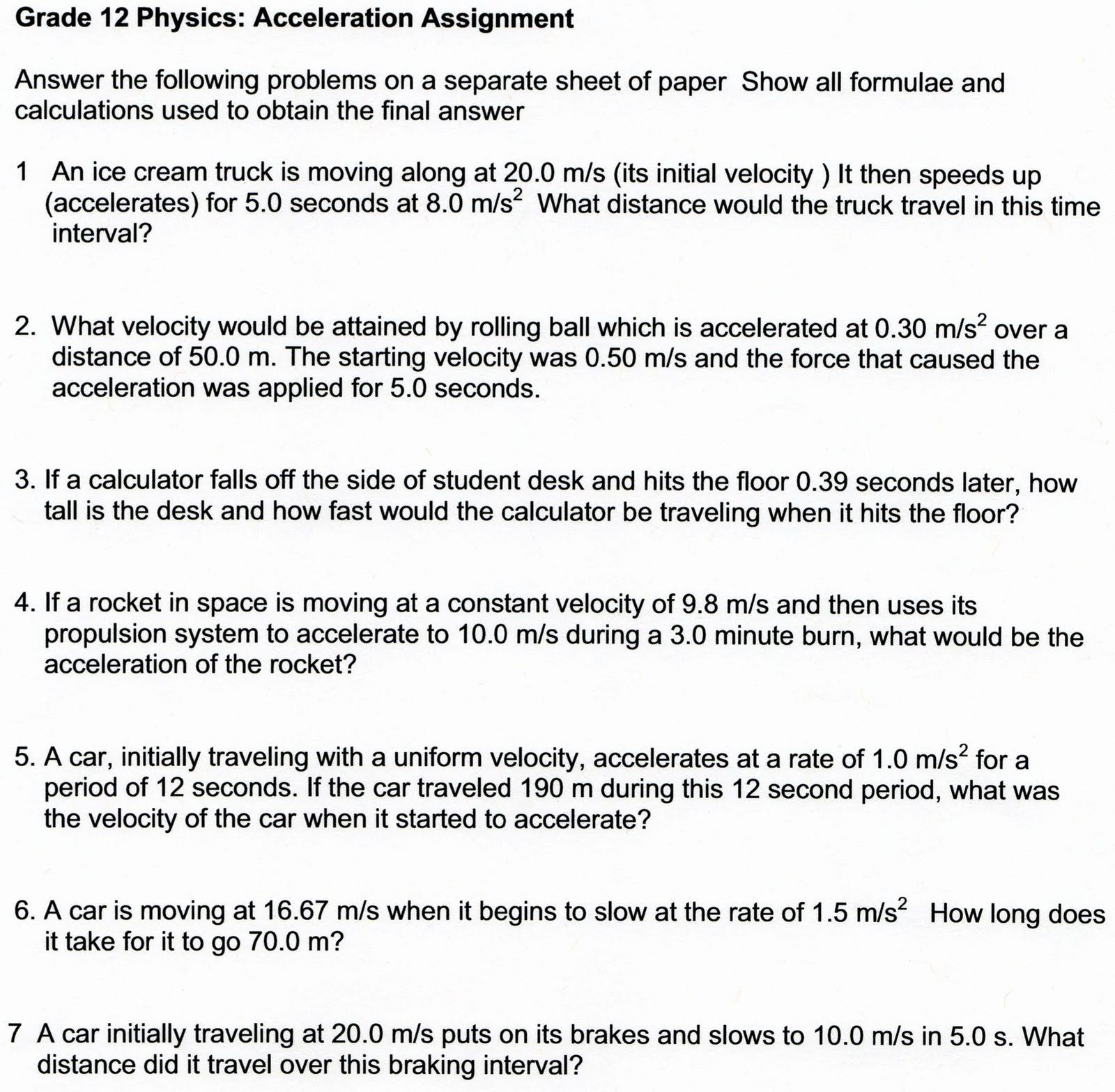 Physical Science Motion And Forces Worksheet Answers