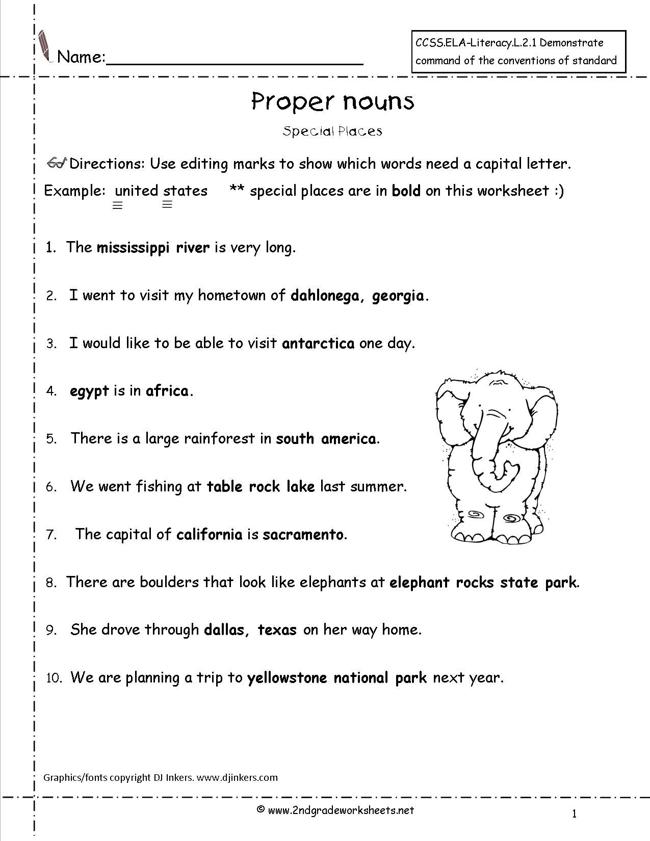 Noun Worksheets For Grade 1
