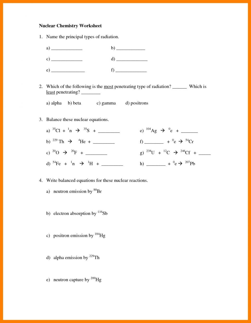 Nuclear Reactions Worksheet Answers
