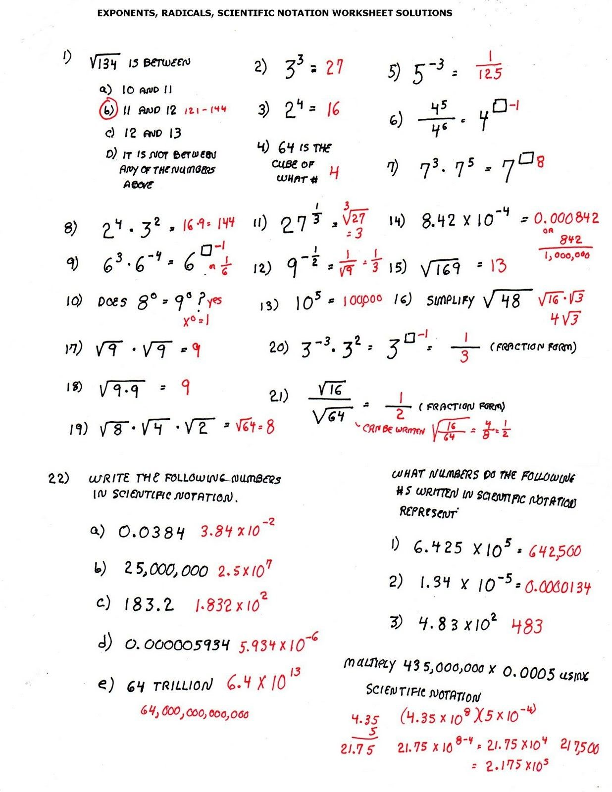 Operations With Exponents Worksheet